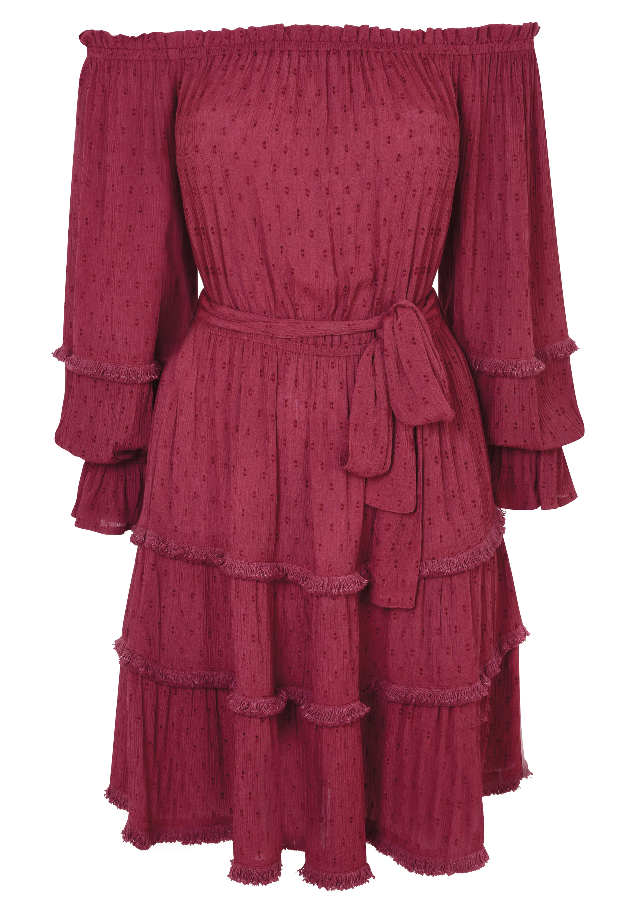 Miss Selfridge Burgundy Dobby Fringe Bardot Dress