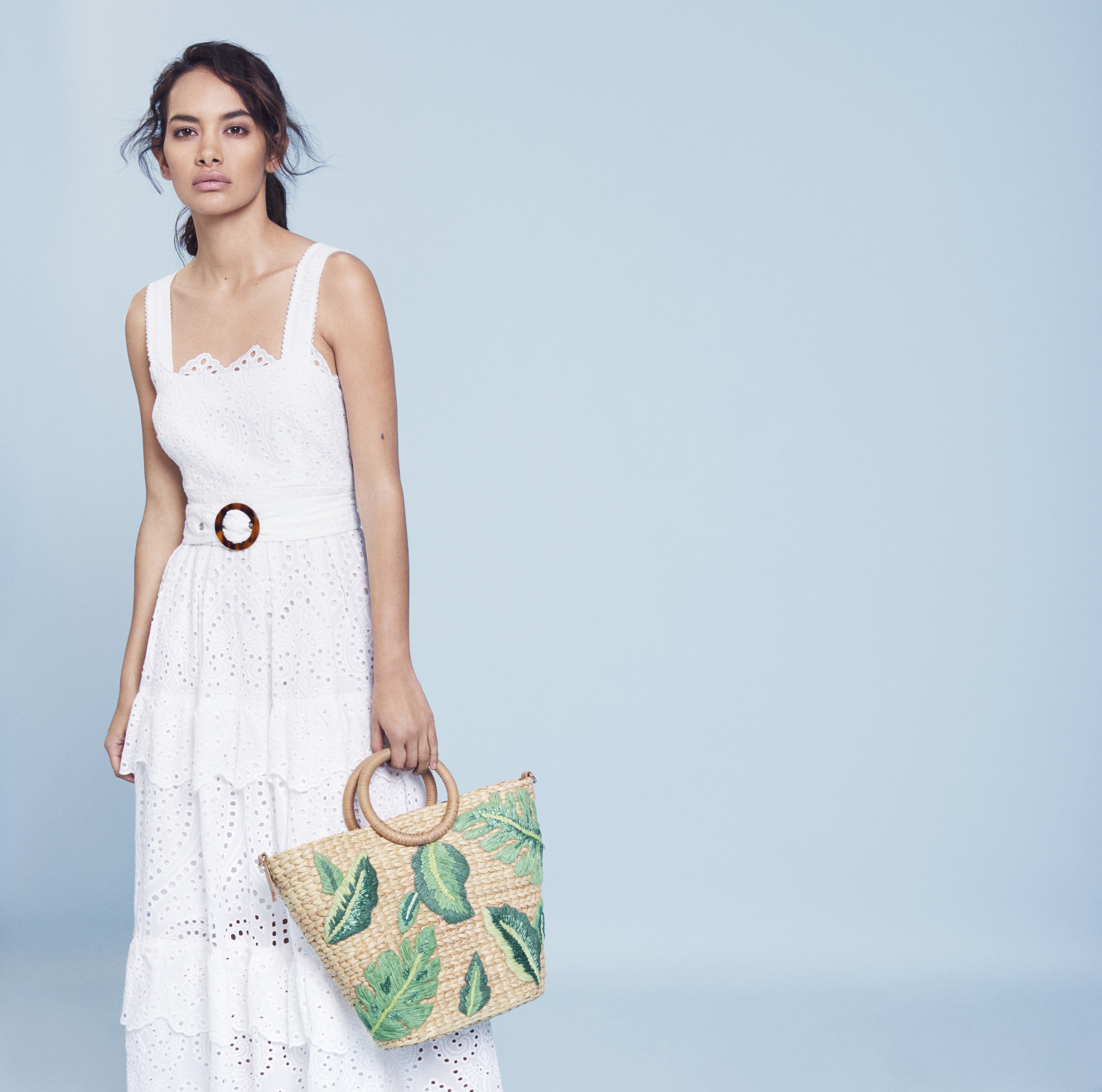 Monsoon Francisca Broderie Cotton Maxi Dress, Rue Raffia Leaf Shopper Bag