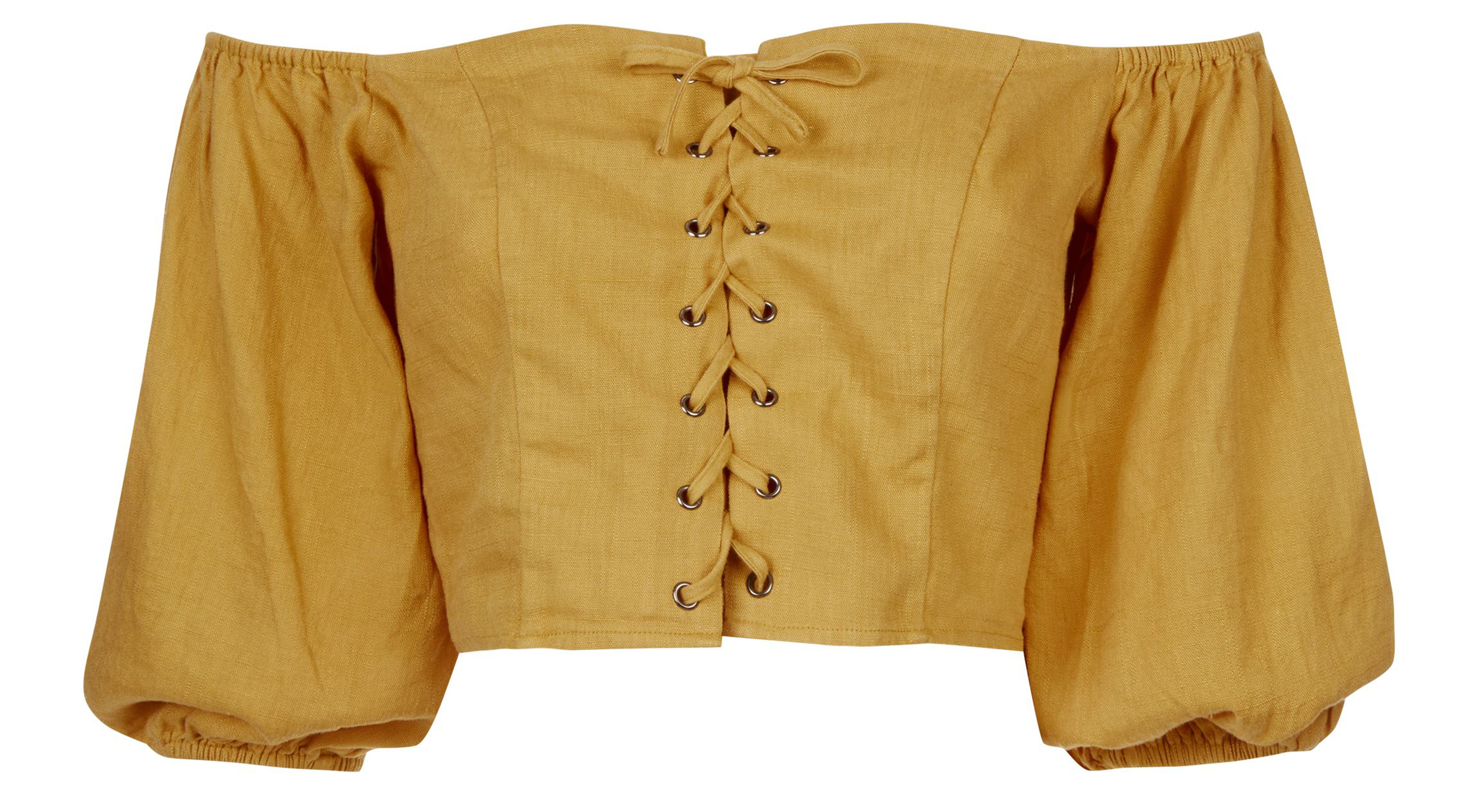 New Look Yellow Linen-Look Lace Up Milkmaid Top