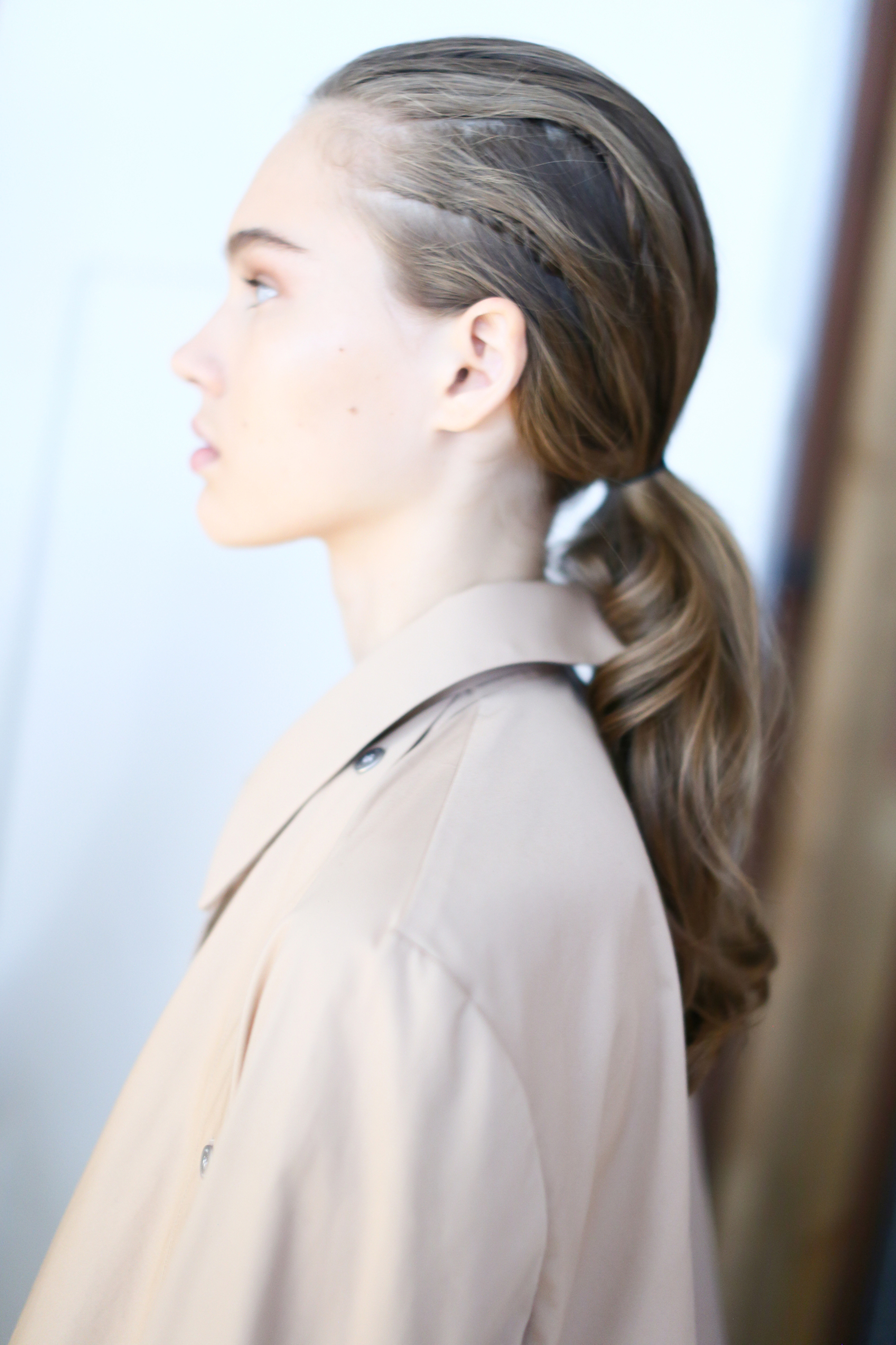 model backstage at Dion Lee SS19, hair by GHD