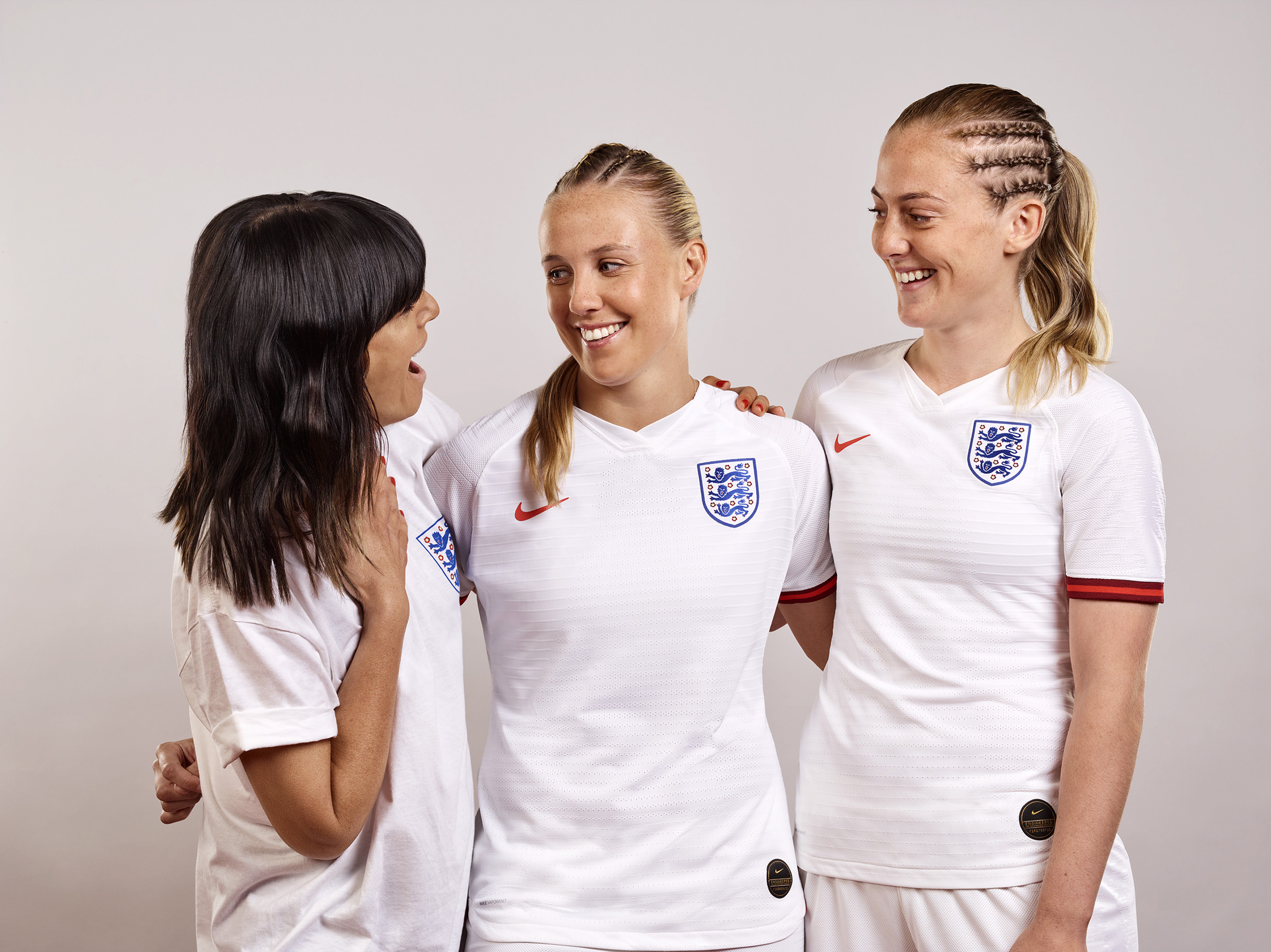 Head & Shoulders ambassador Claudia Winkleman (left) with members of the England women's World Cup squad