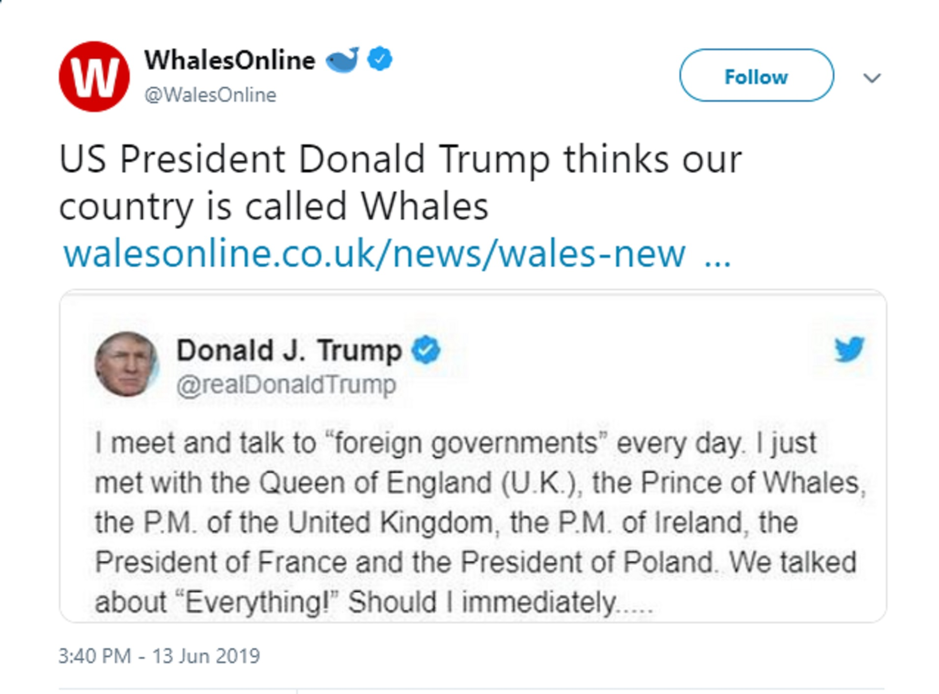 A screen grab of a tweet from @WalesOnline