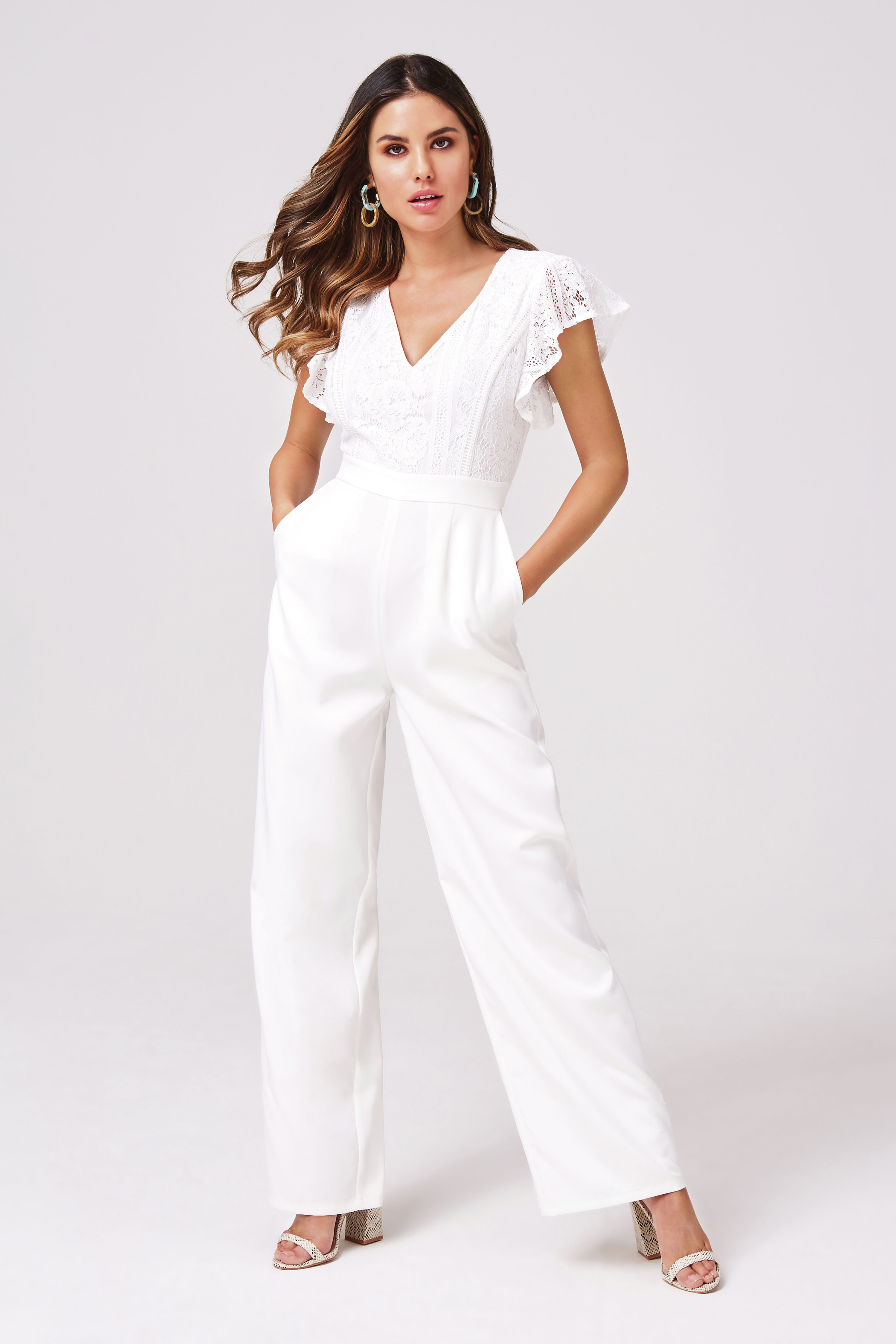 Girls on Film Sensation White Lace Jumpsuit