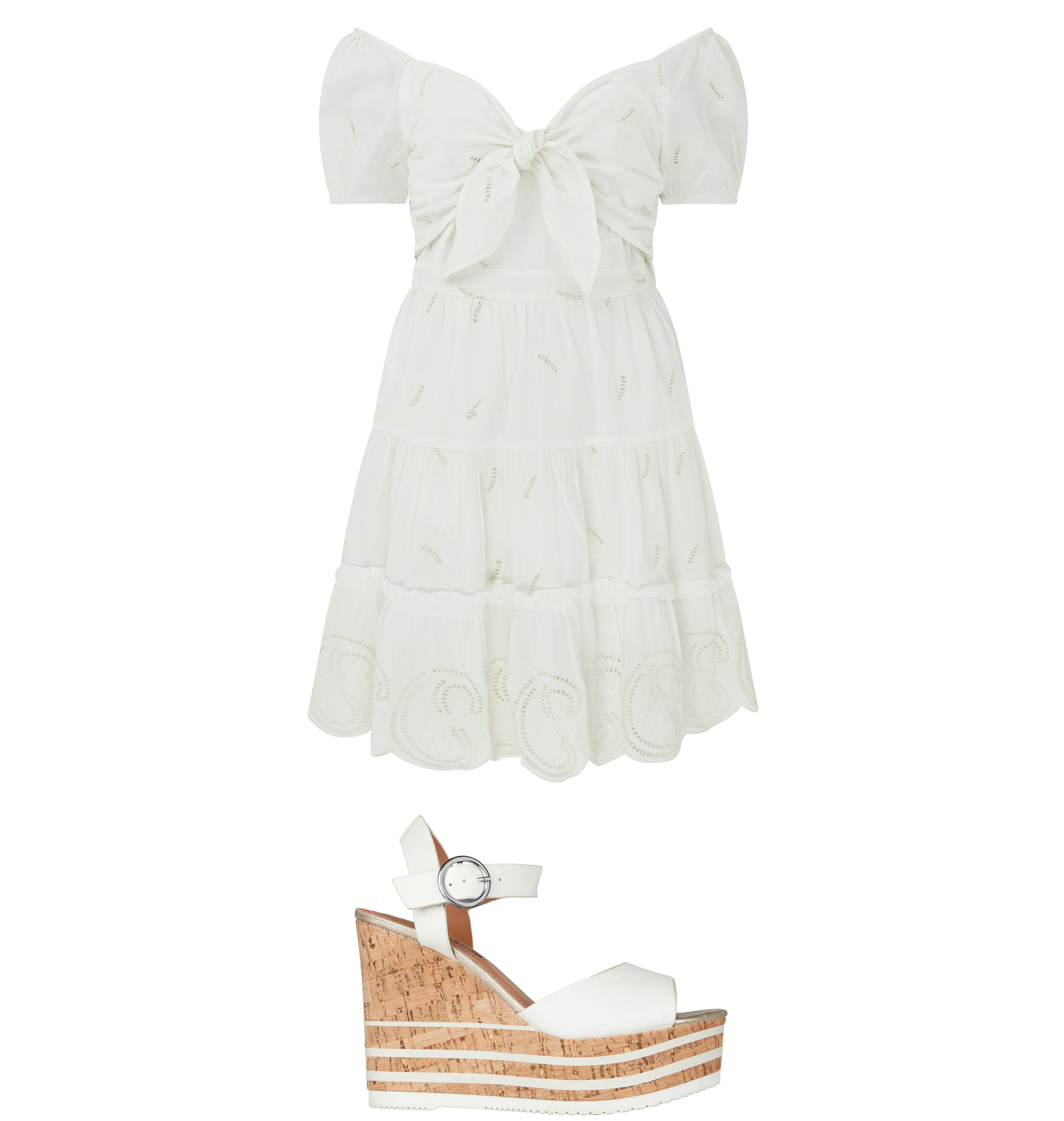 River Island White Embroidered Bow Front Dress; White Cork Platform Wedges