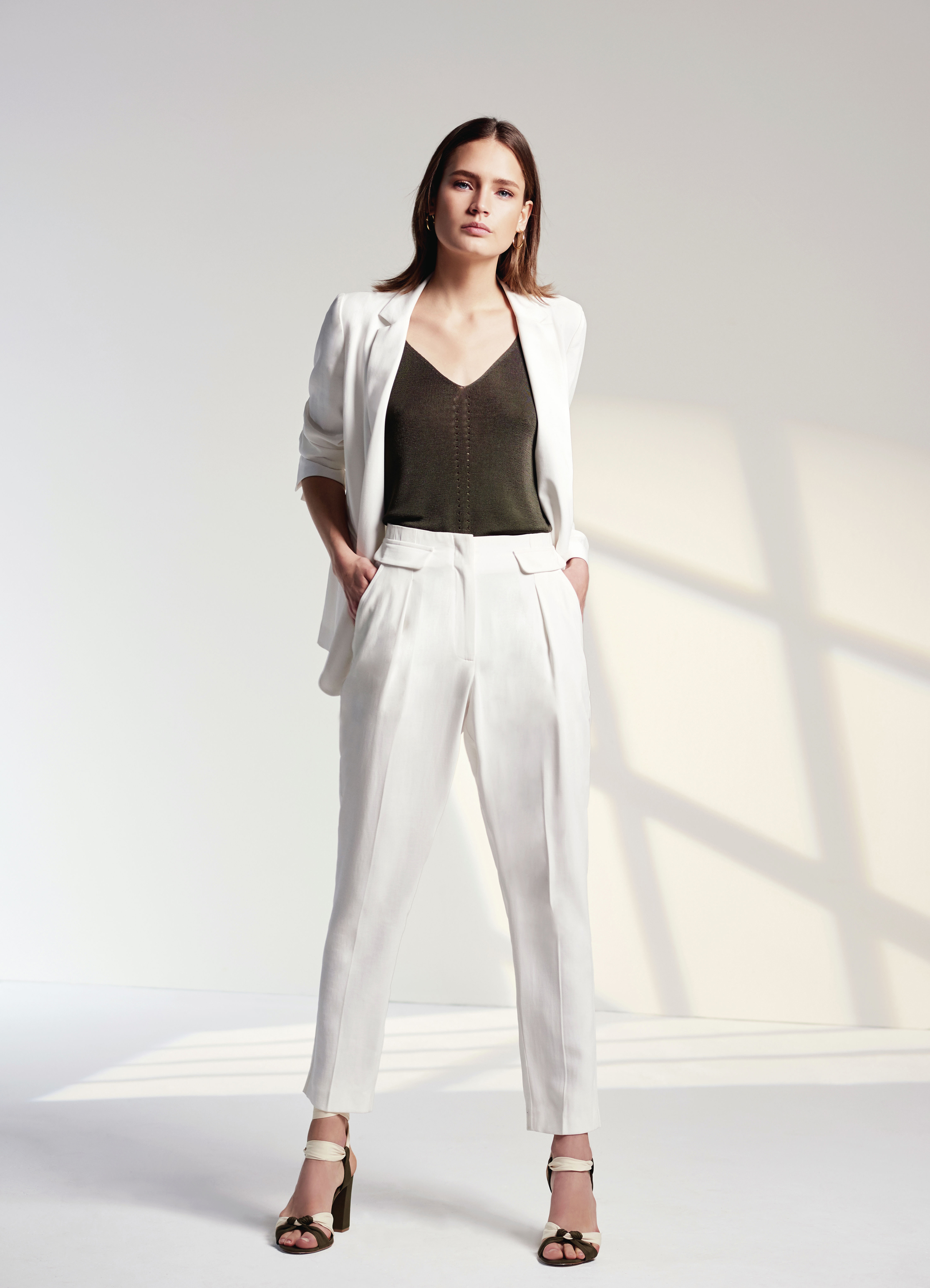 Wallis Ivory Tailored Blazer; Khaki Button Knitted Top; Ivory Tapered Trousers; Khaki Ankle Tie Knot Sandals