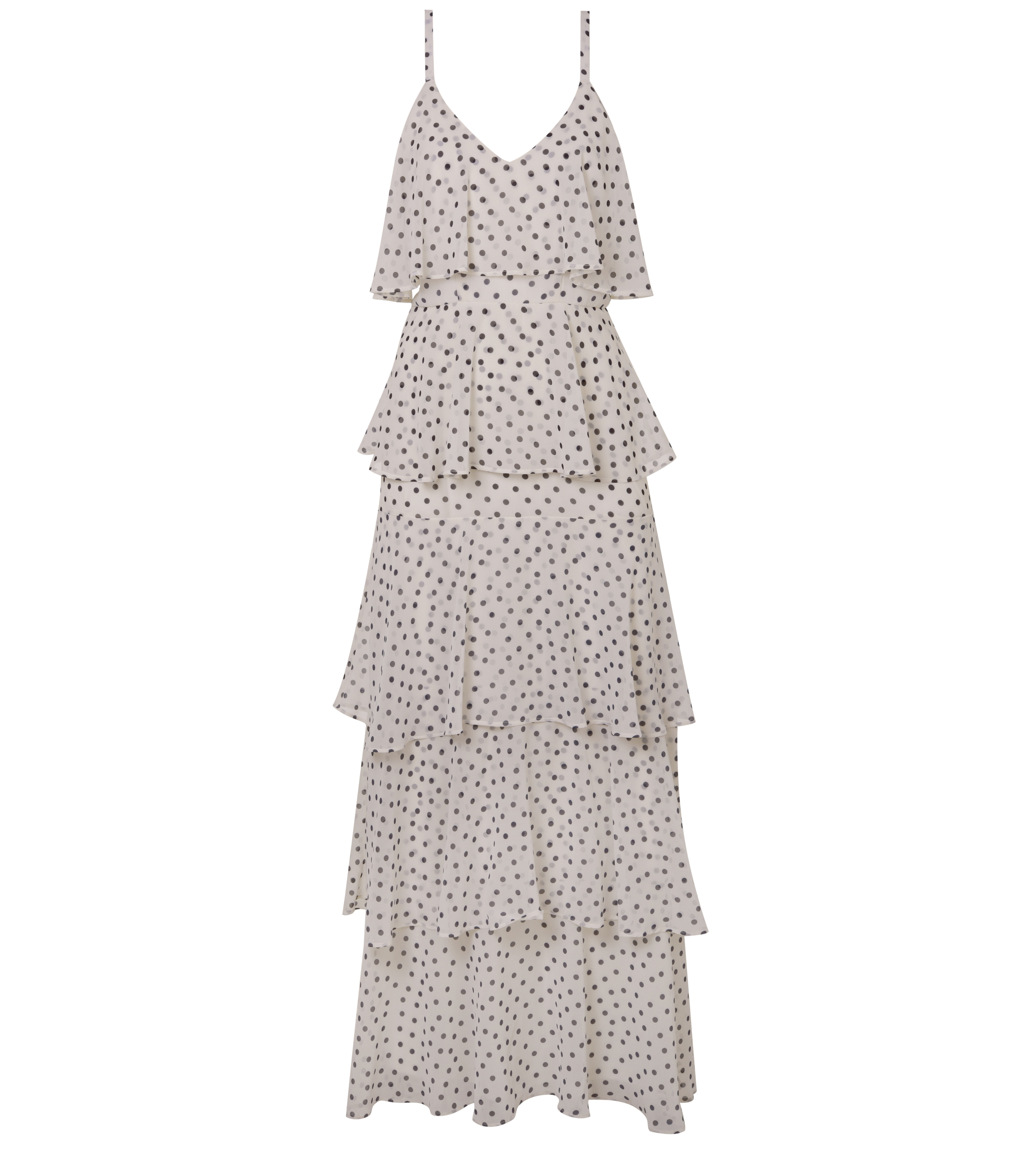 Dorothy Perkins White Spot Print Tiered Frill Maxi Dress
