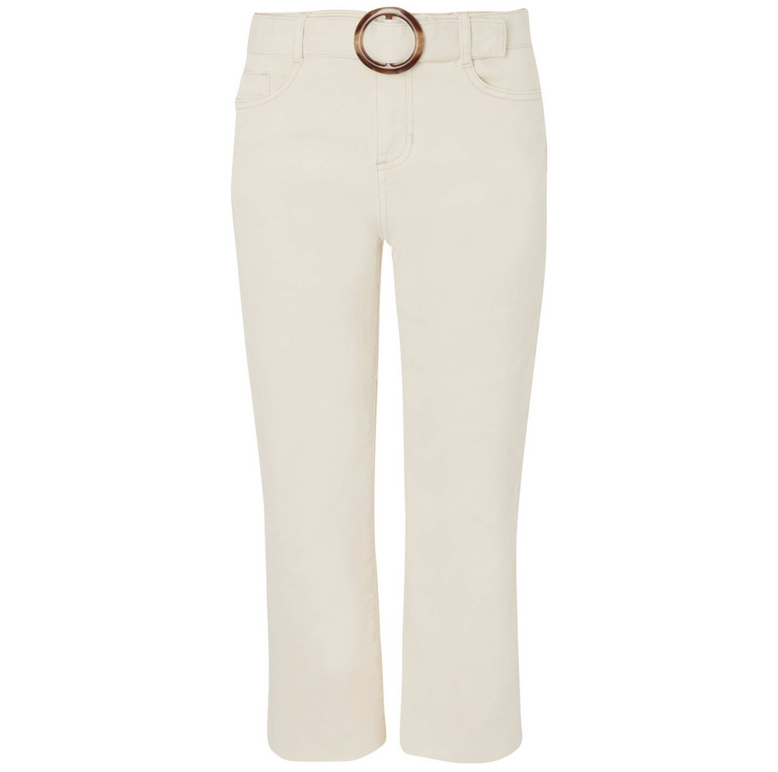 George at Asda Cream Belted Cropped Denim Jeans