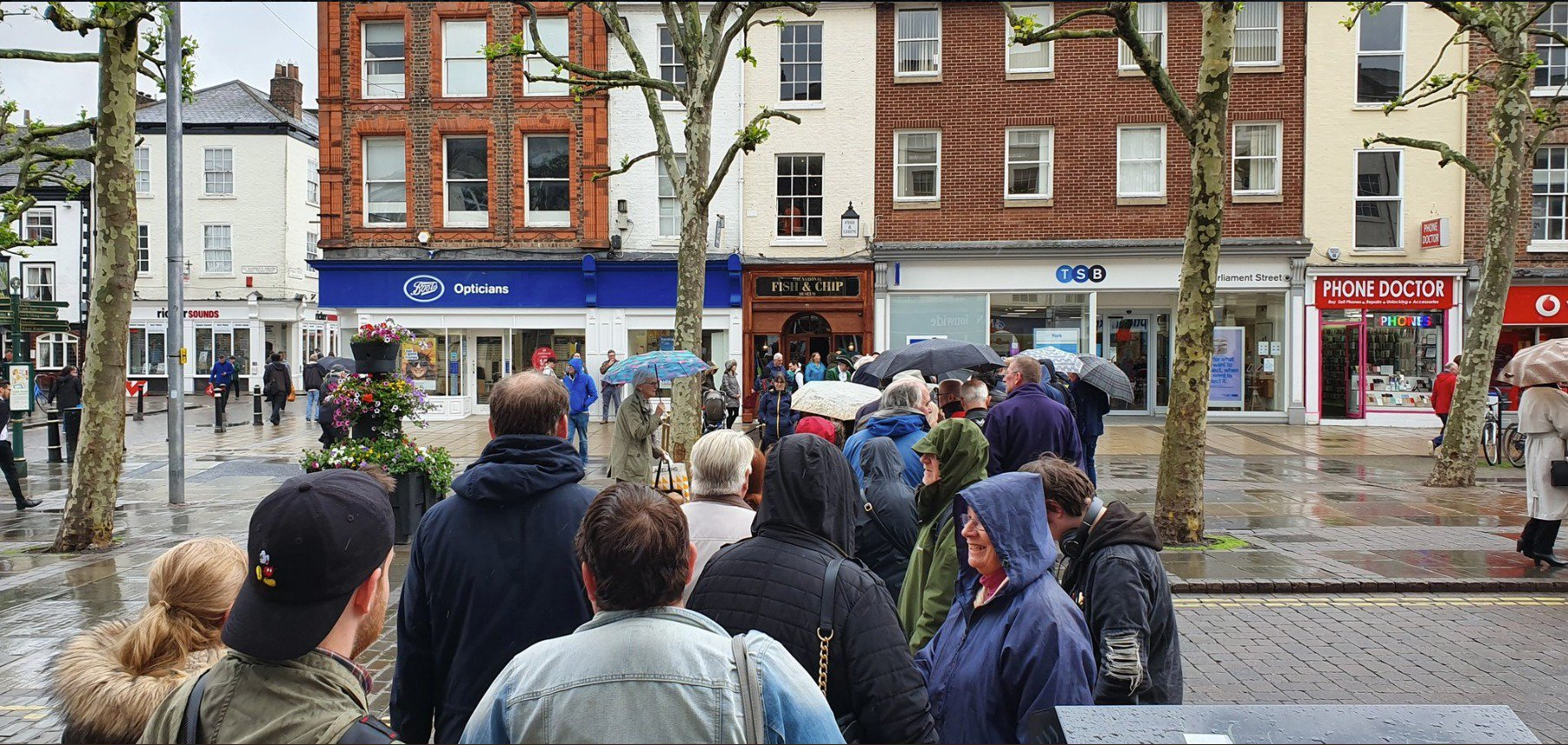 Customers queue in York for 4p fish and chips
