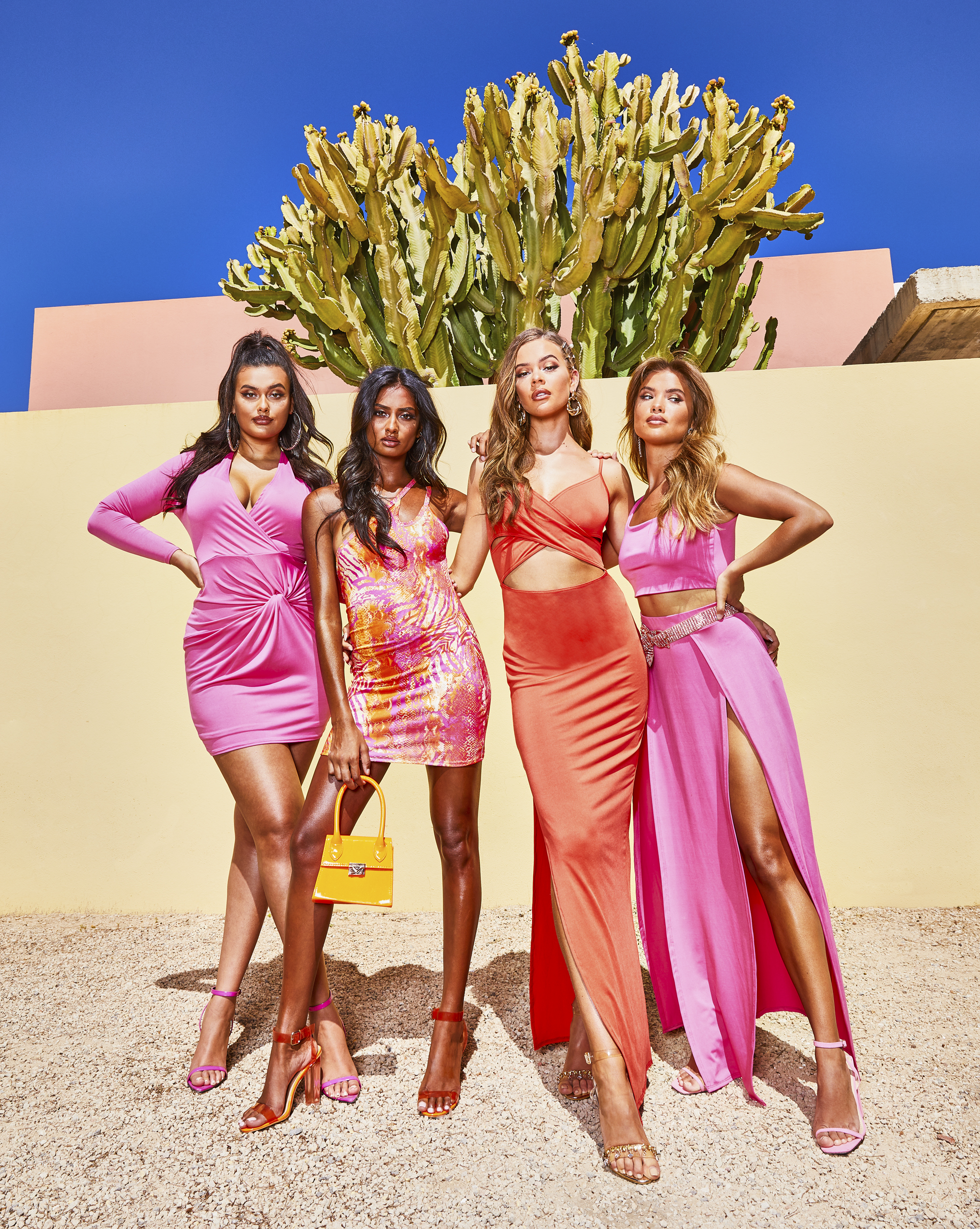 models wearing items from boohoo's first recycled collection
