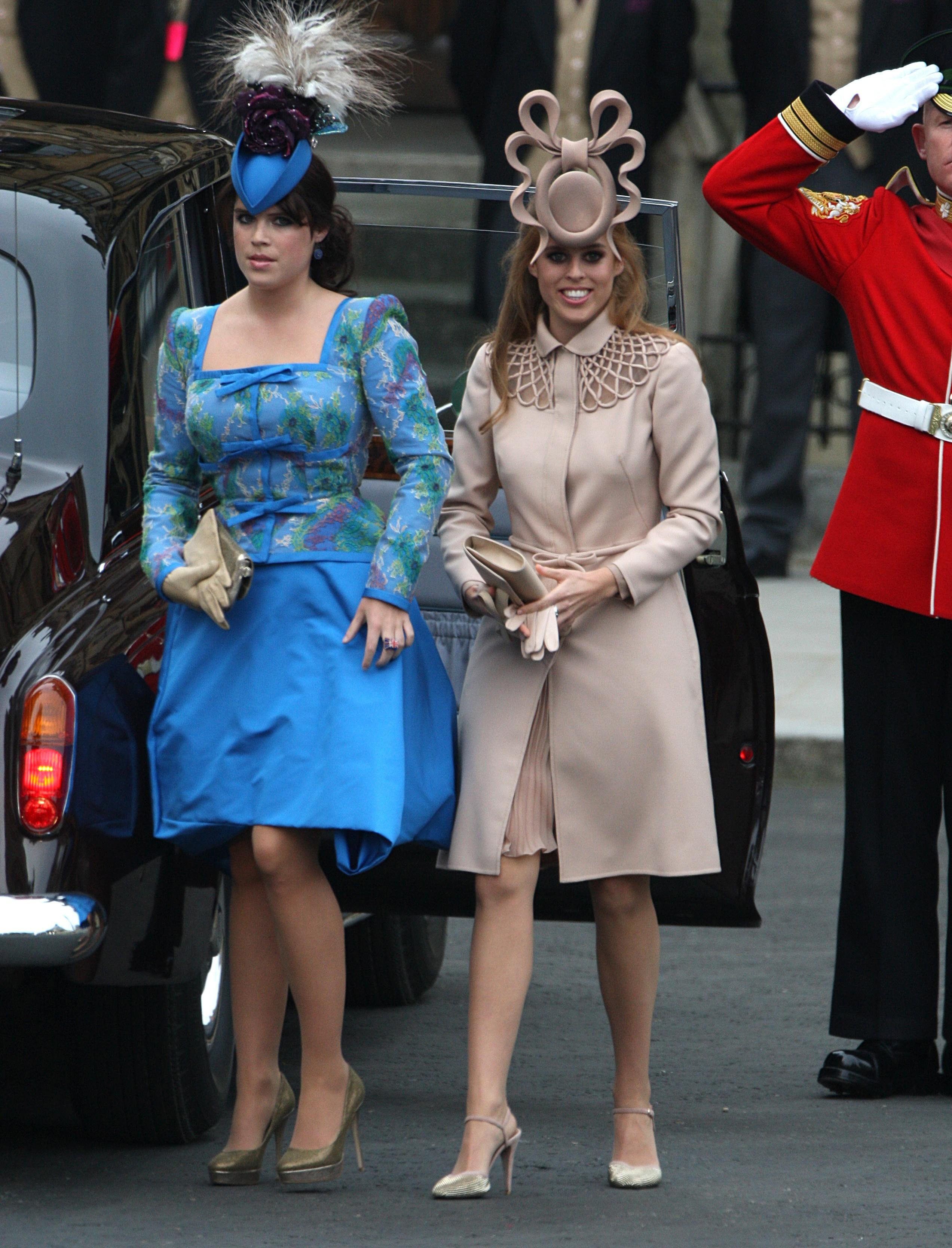 Princess Beatrice (right) wore the now-iconic fascinator designed by Philip Treacy to William and Kate's wedding