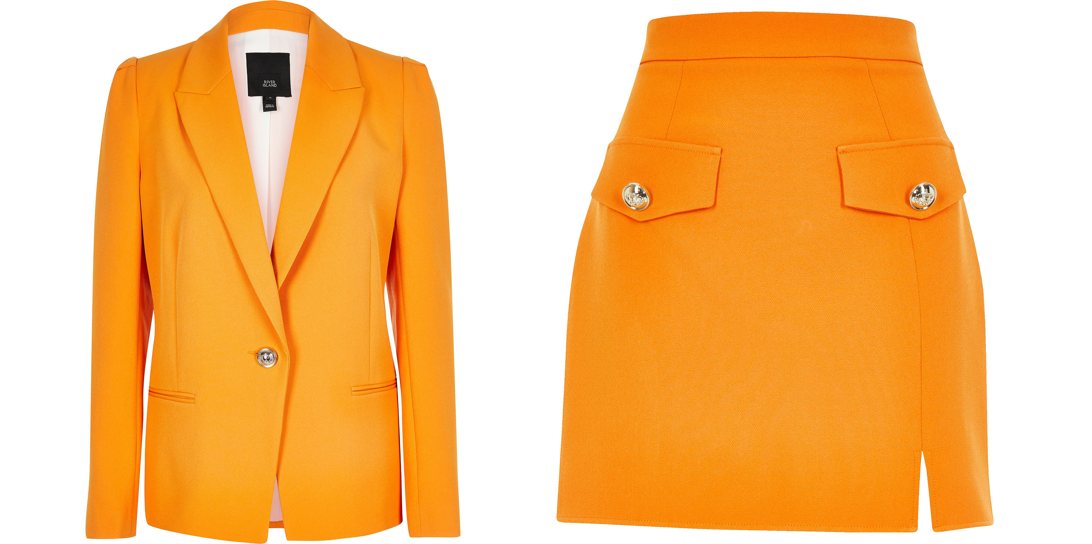 River Island Orange Puff Sleeve Blazer, Orange A Line Mini Skirt