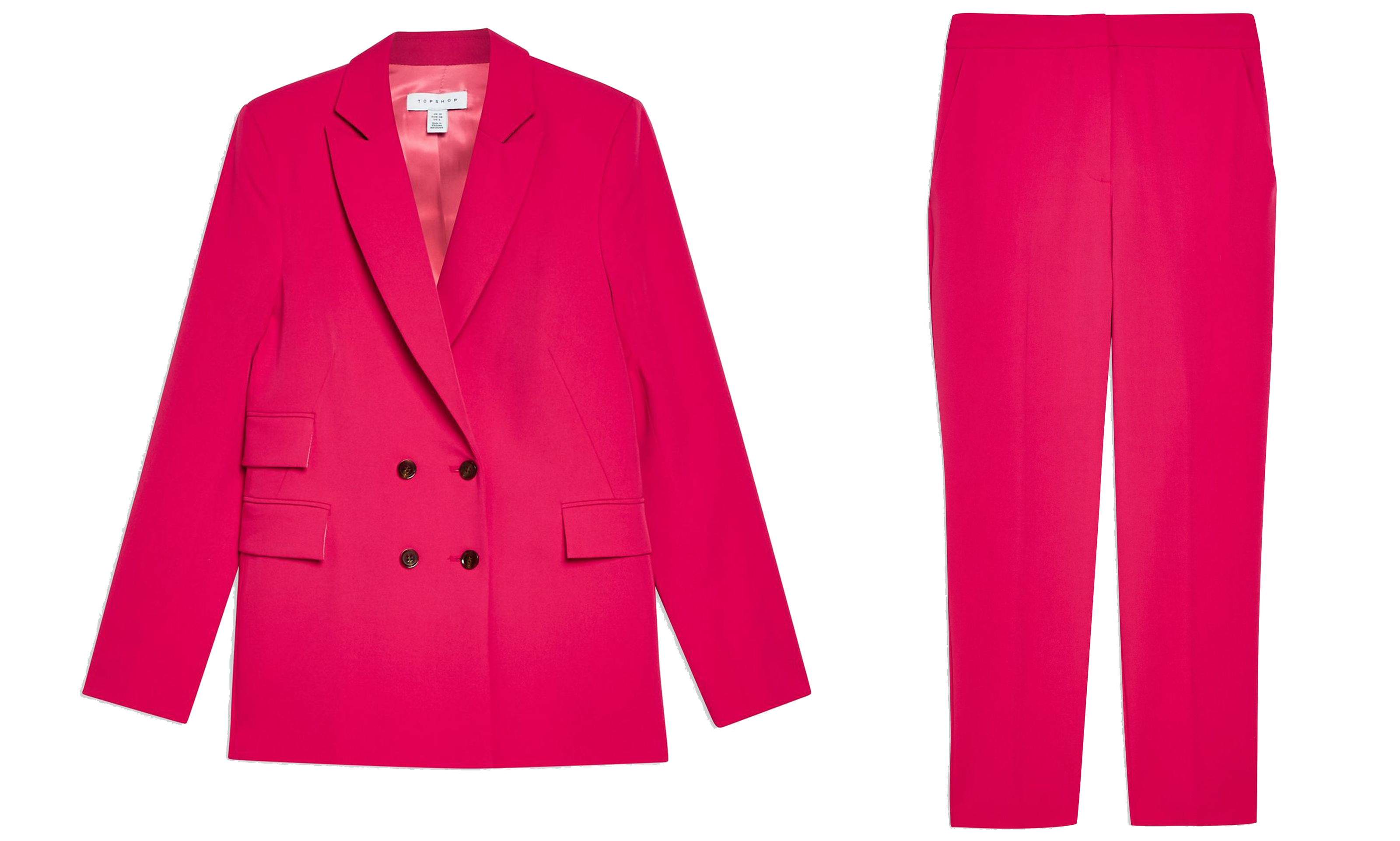 Topshop Fully Lined Jacket; Tapered Suit Trousers