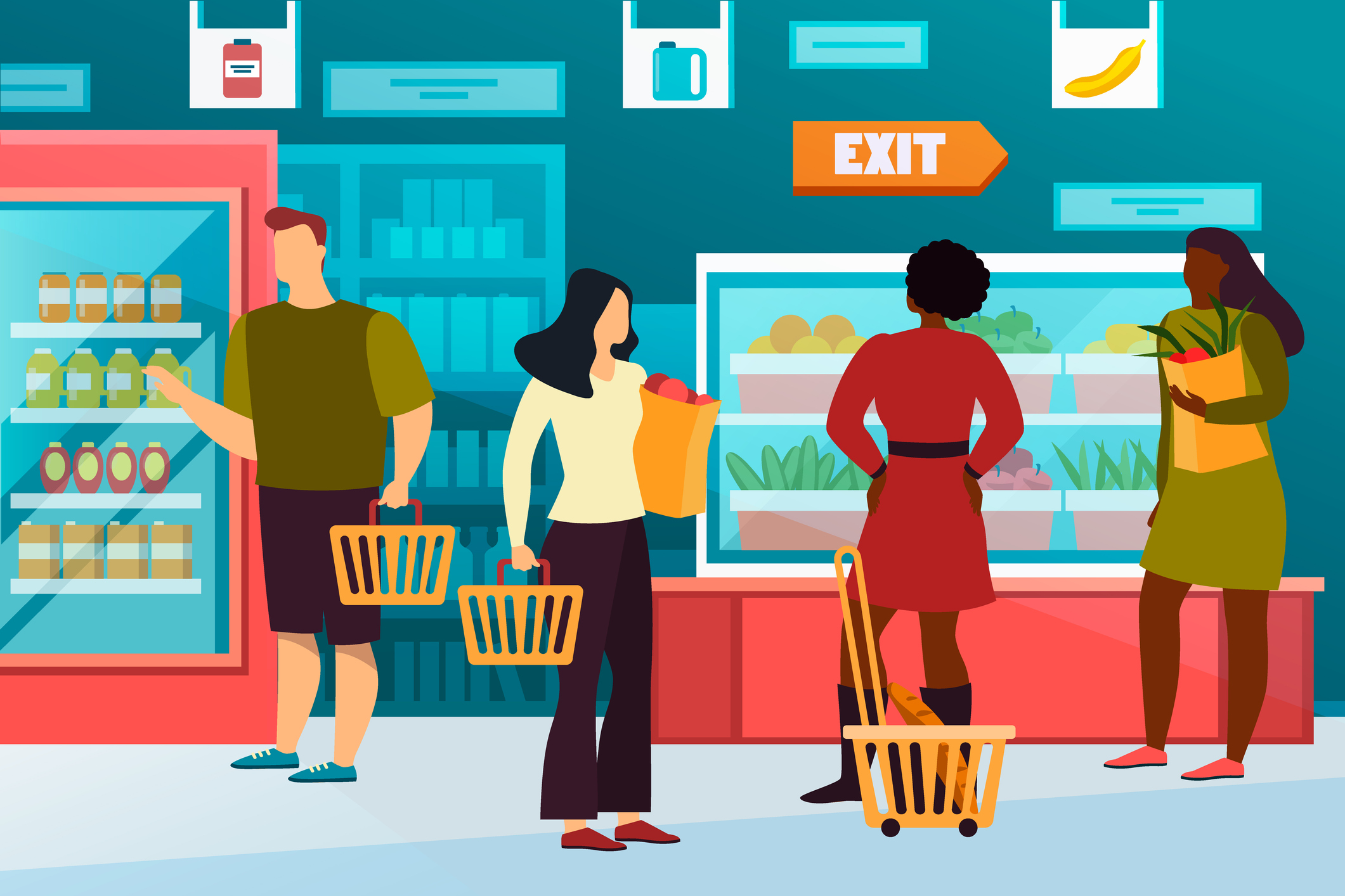 Cartoon people at grocery shop or healthy food store. Simple man with basket of fruit and flat woman with pack of vegetables. Buyer at mall or market, vegan counter with dairy. Showcase, trade theme