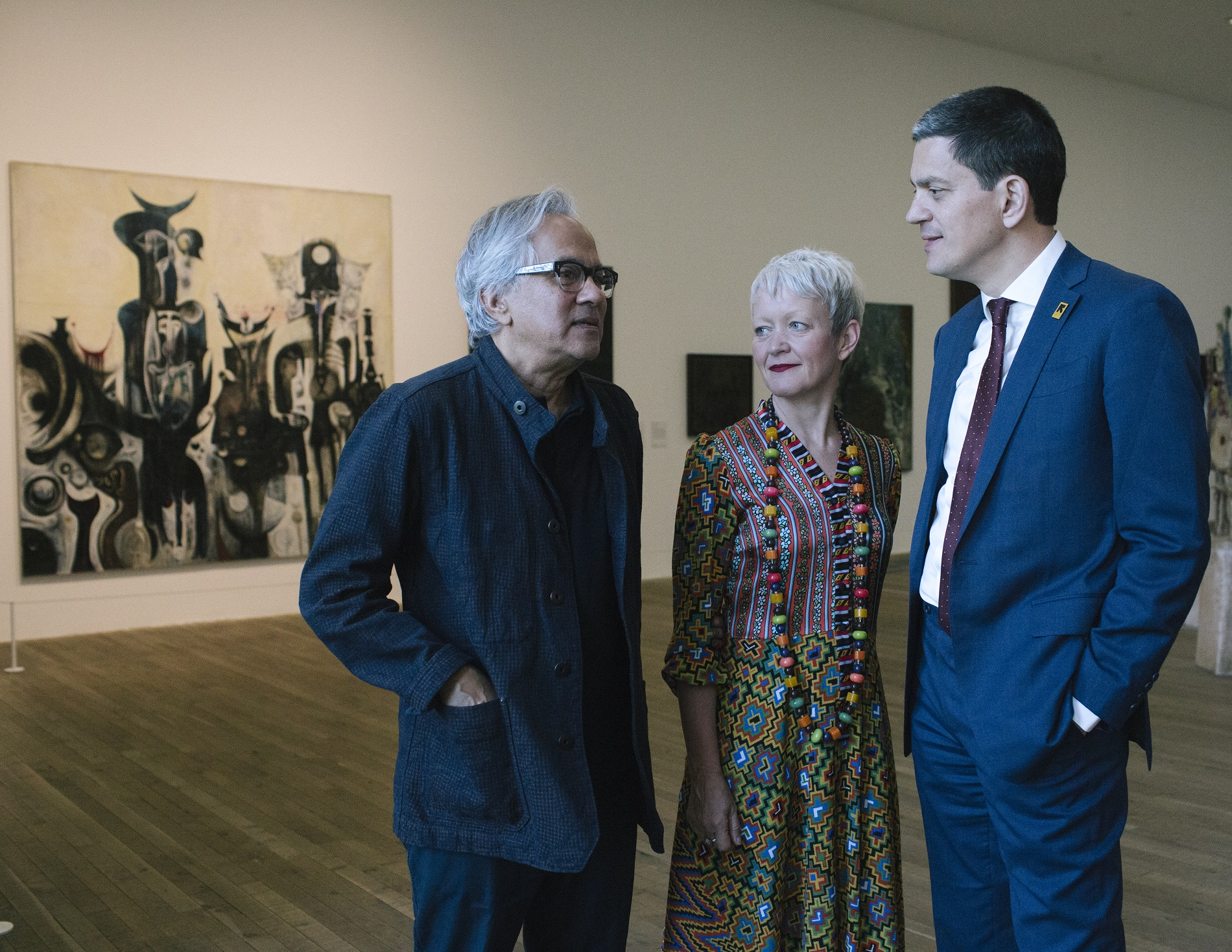 Sir Anish Kapoor, David Miliband and Maria Balshaw at Tate Modern to mark World Refugee Day with the International Rescue Committee