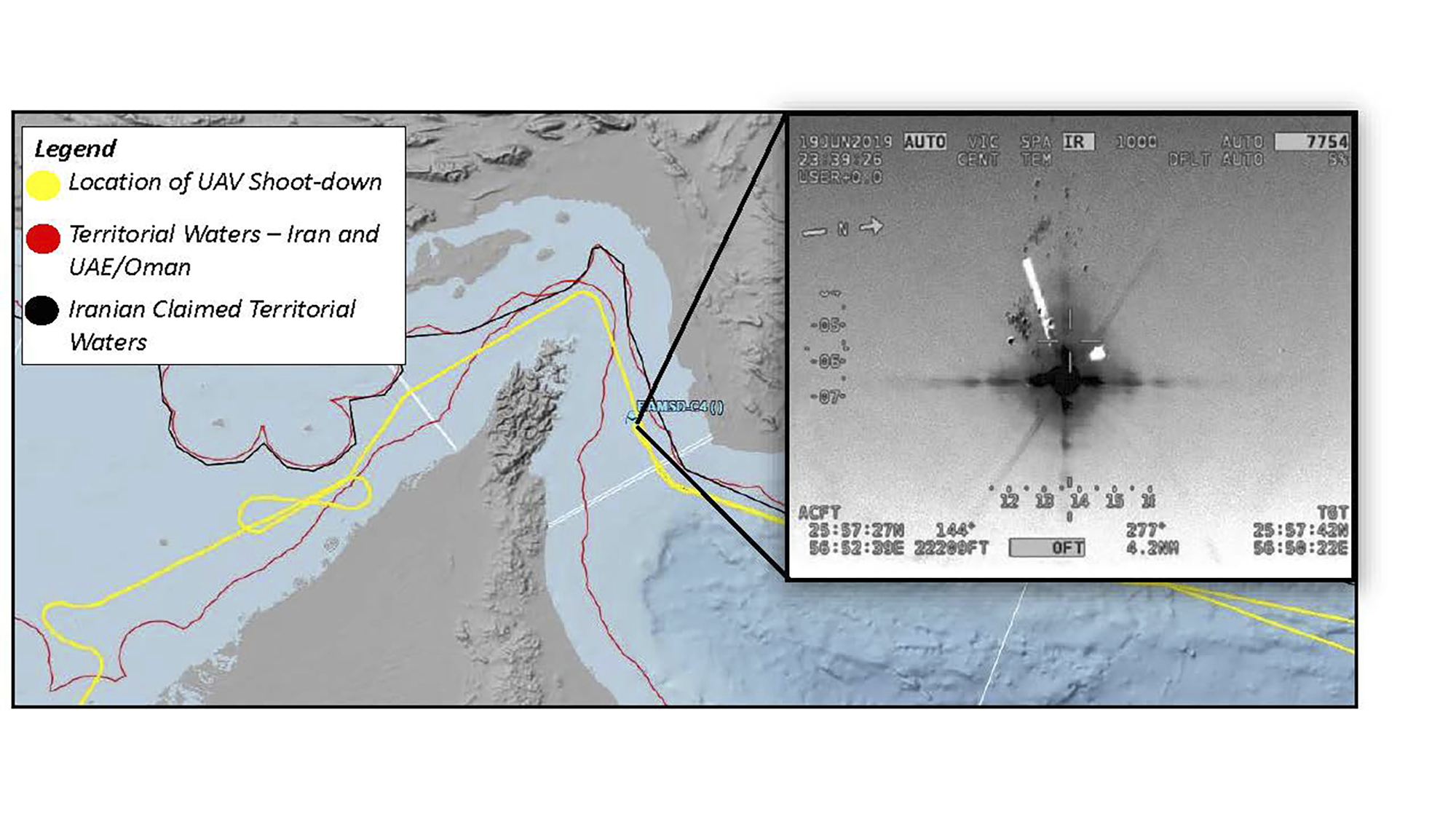 This image released by the US military's Central Command shows what it describes as the flight path and the site where Iran shot down a US droneNavy RQ-4A Global Hawk in the Strait of Hormuz on Thursday, June 20, 2019. Iran says it shot down the drone over Iranian territorial waters