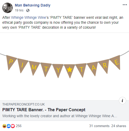 Fellow blogger Man Behaving Dadly created his own Pimty Tare banners.