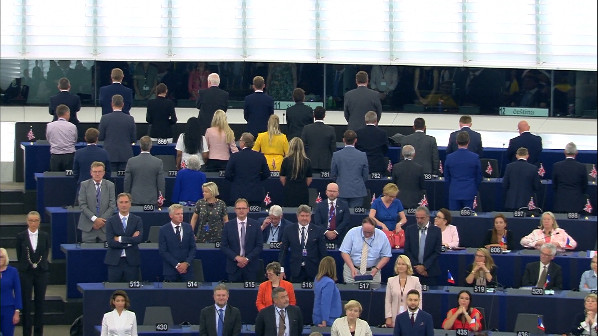 Brexit Party MEPs turned their backs on the EU anthem Ode to Joy on day one of the parliament (EuropaTV/PA)