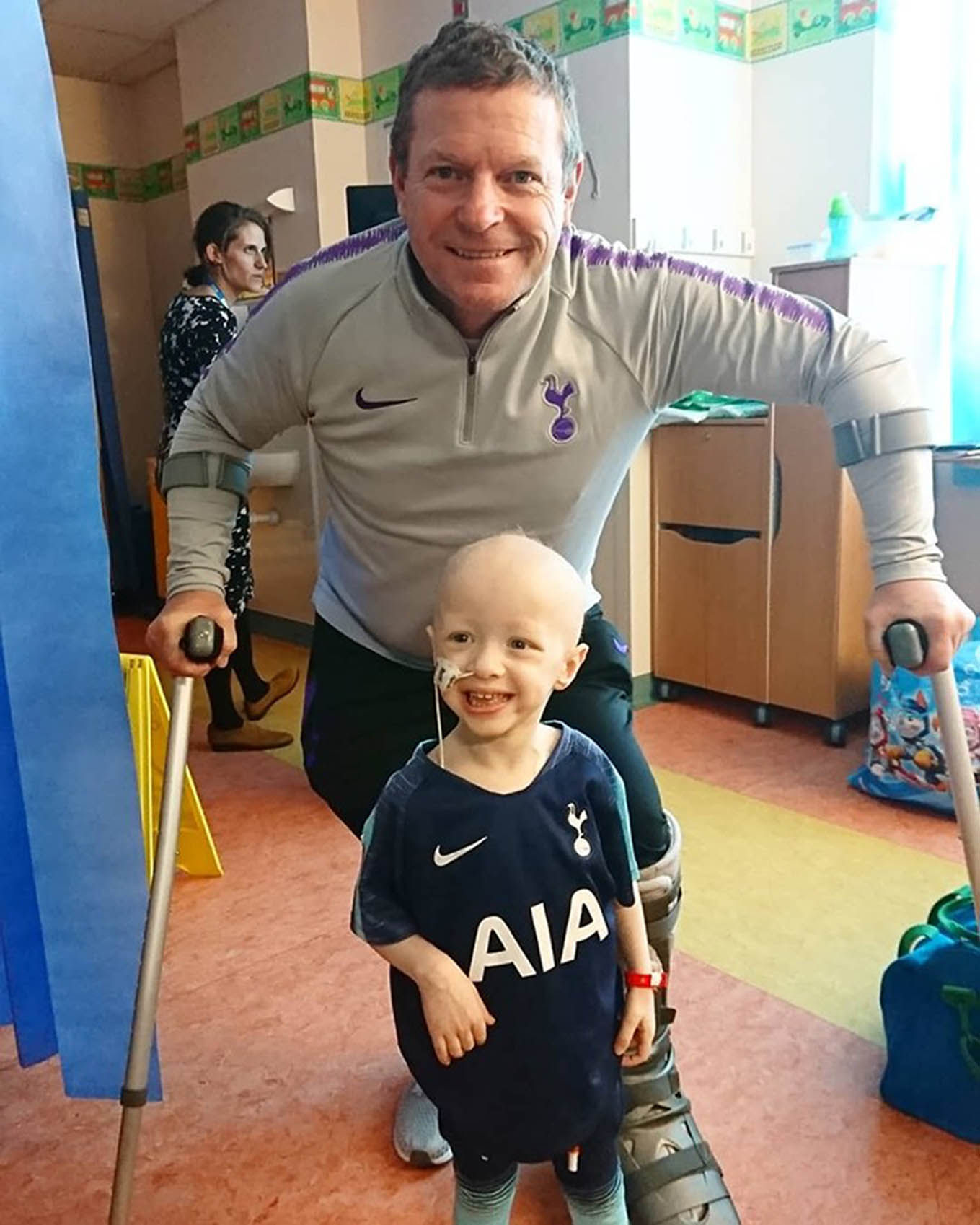 Archie is a Spurs fan who was excited to meet former player Micky Hazard