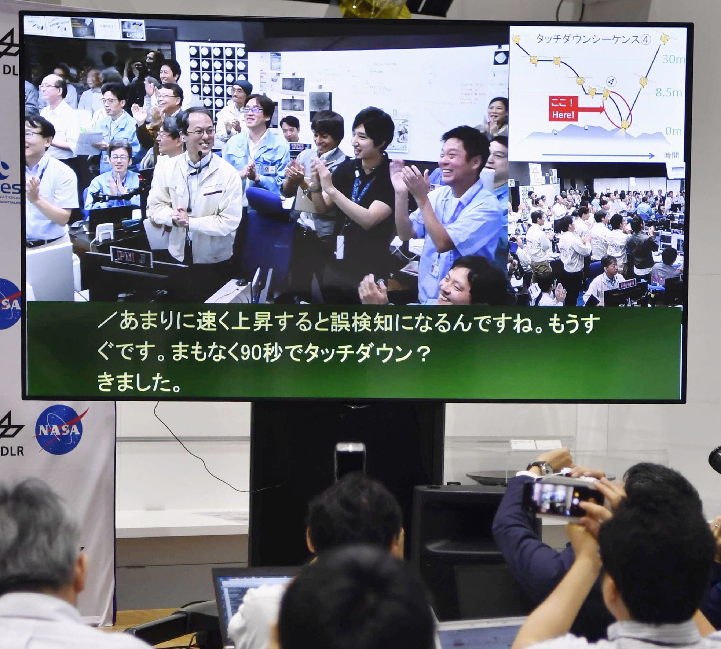 A monitor shows Hayabusa2 project team members celebrating the spacecraft's second touchdown on an asteroid in the control room in Japan