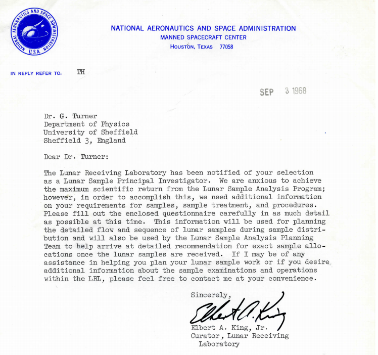 Letter sent to Dr Turner from Nasa