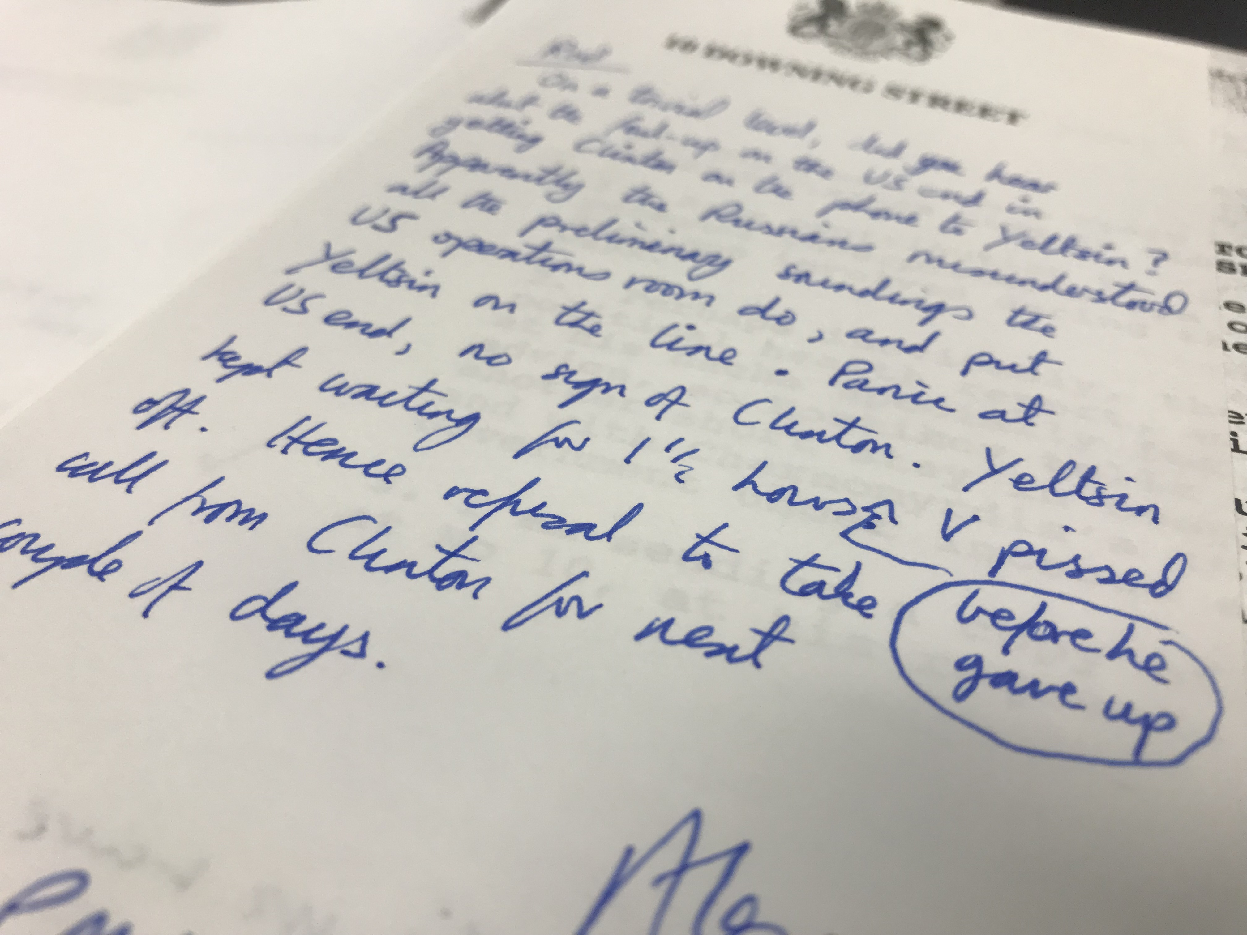 A handwritten note on Downing Street paper reveal how Boris Yeltsin was kept on hold for 90 minutes to Bill Clinton in 1994. Picture: National Archives / Ryan Hooper