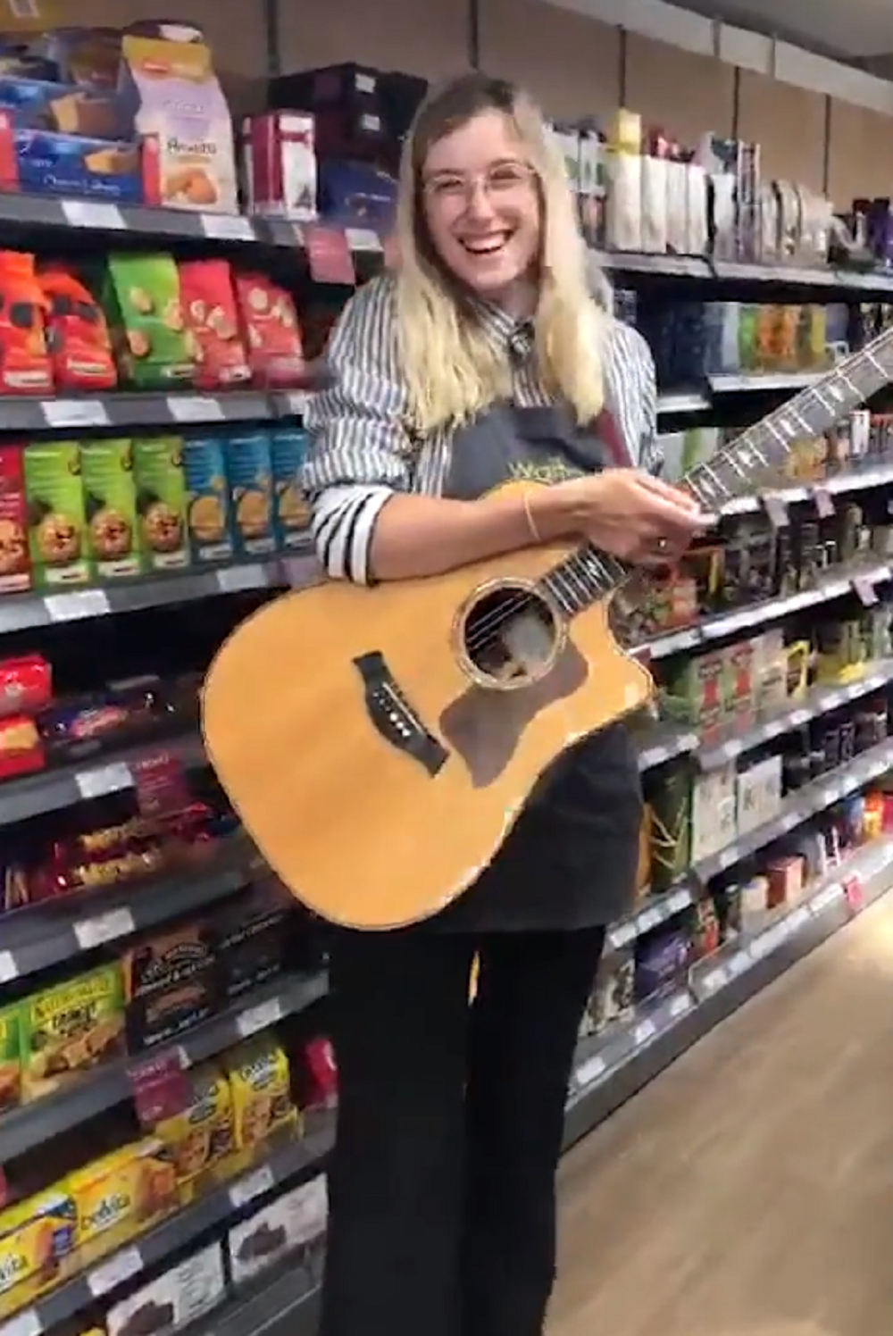 Karina Ramage in Waitrose with her guitar