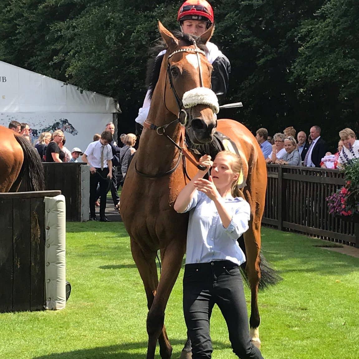 Dame Malliot after winning at Newmarket