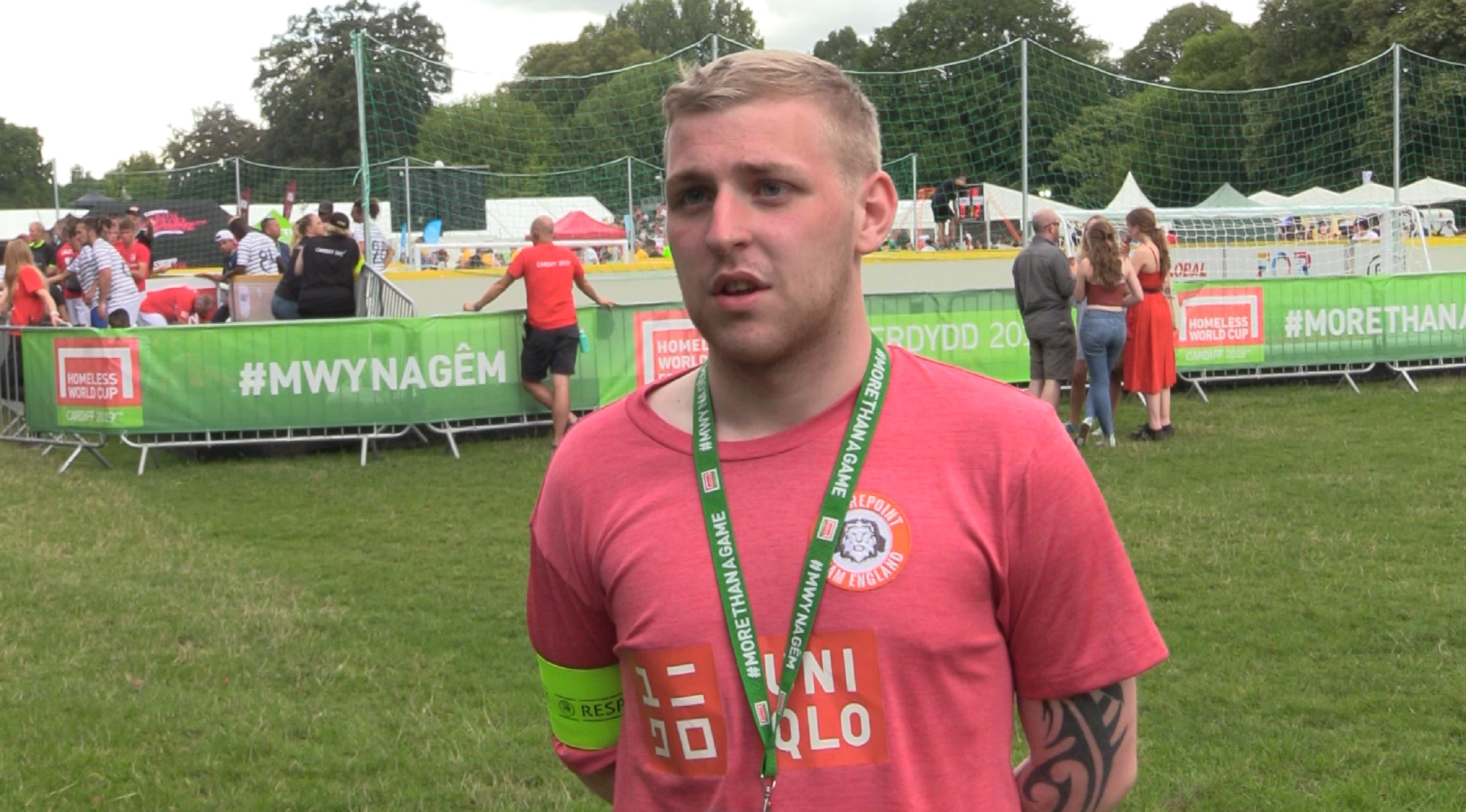 England men's goalkeeper Thomas at the 2019 Homeless World Cup in Cardiff