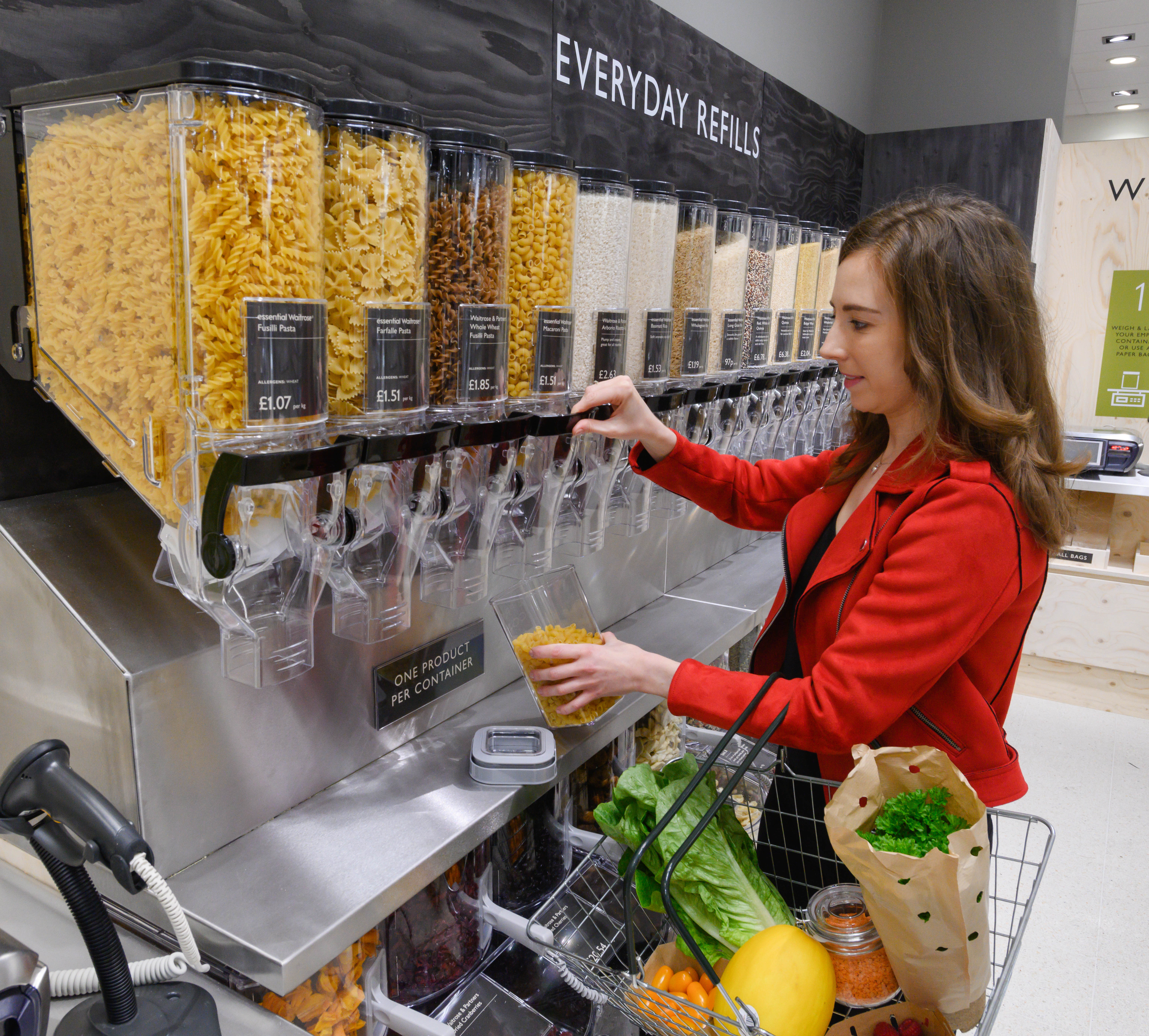 The unpacked concept includes a refill station for products such as pasta (Waitrose/PA)