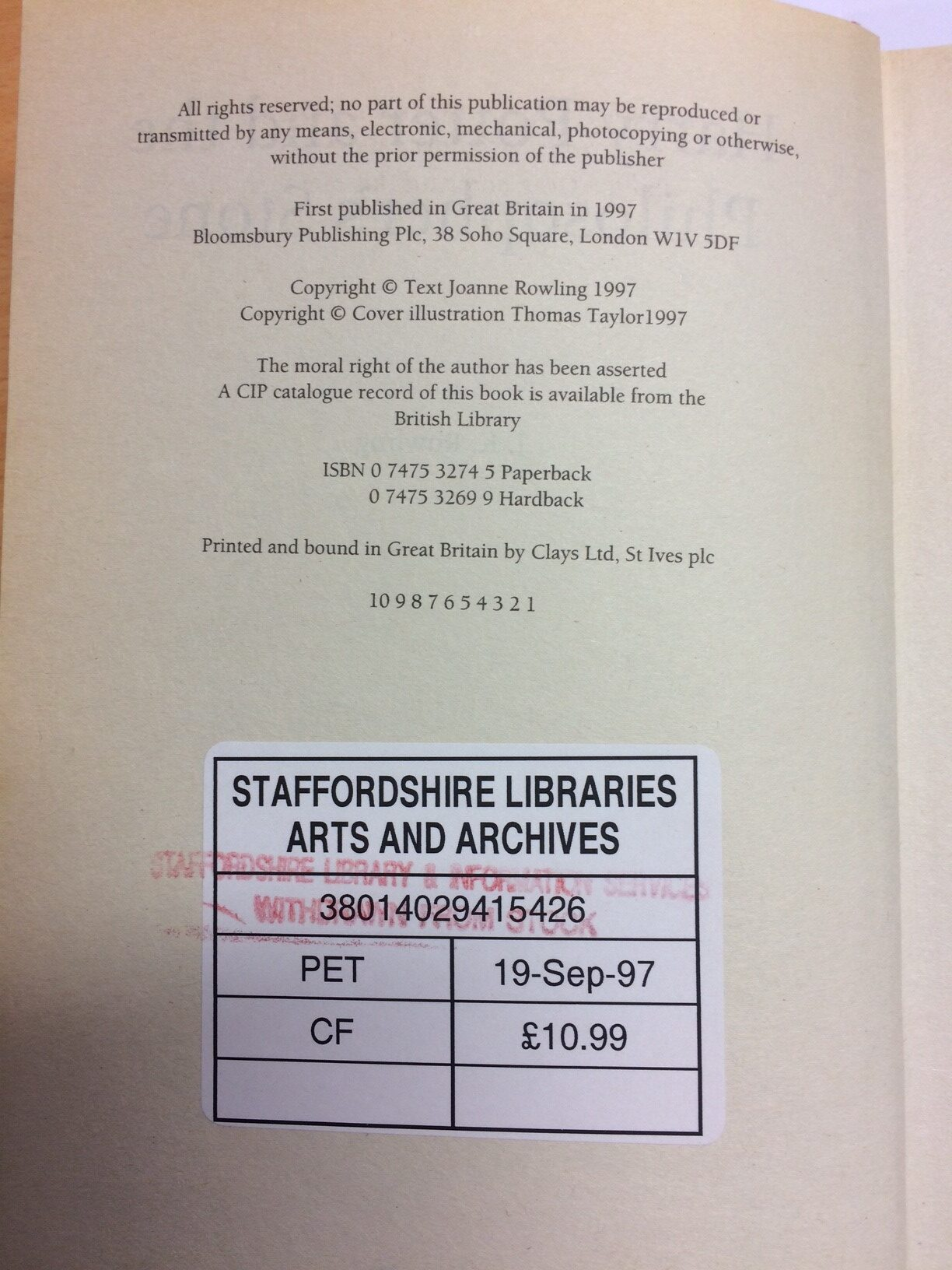 "The former Staffordshire Library book has a ""withdrawn from sale"" stamp (Hansons/PA)"