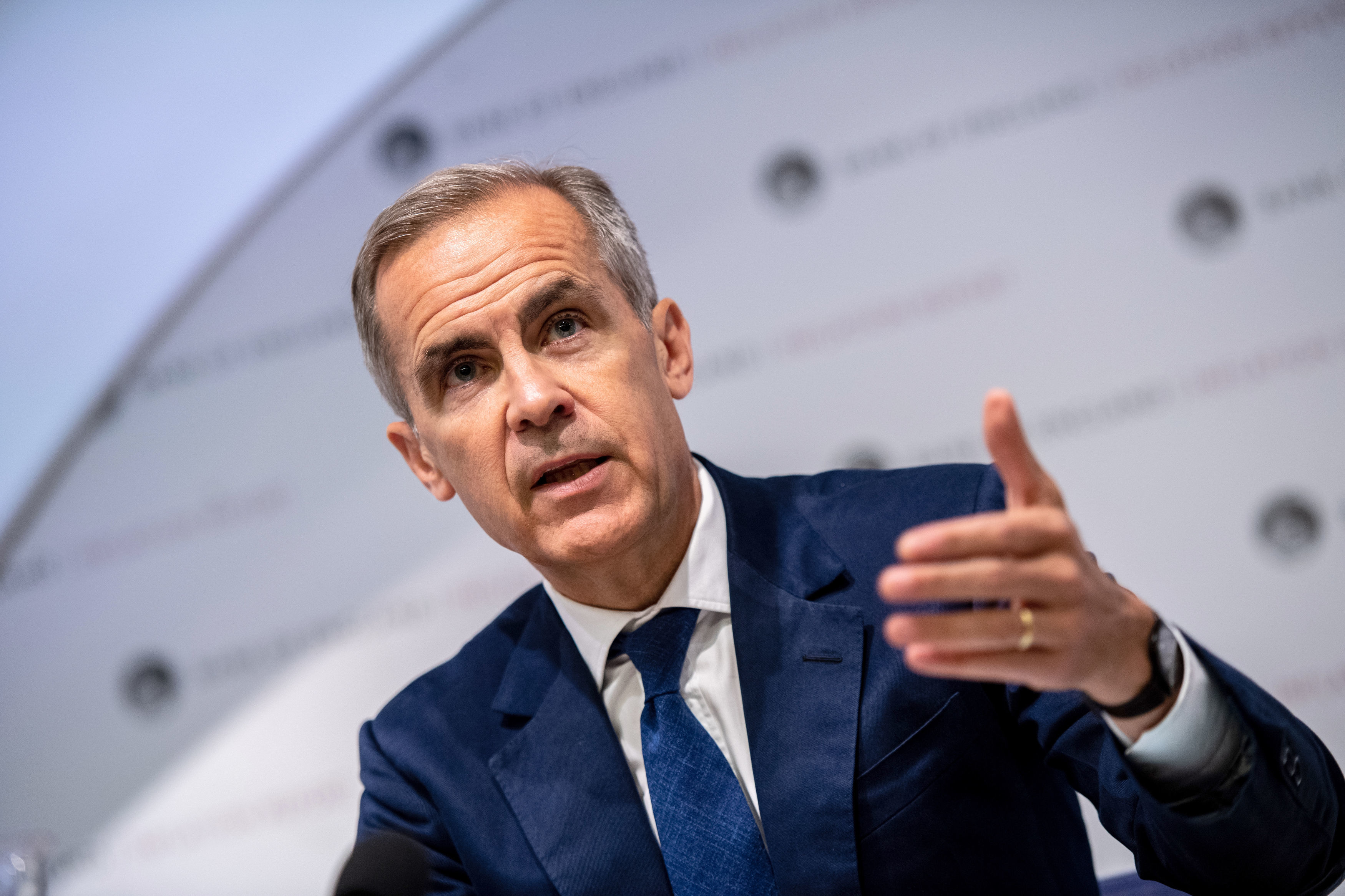Governor of the Bank of England, Mark Carney, speaking at the Bank of England interest rate decision and inflation report press conference at the Bank of England in London. (Chris J Ratcliffe/PA)