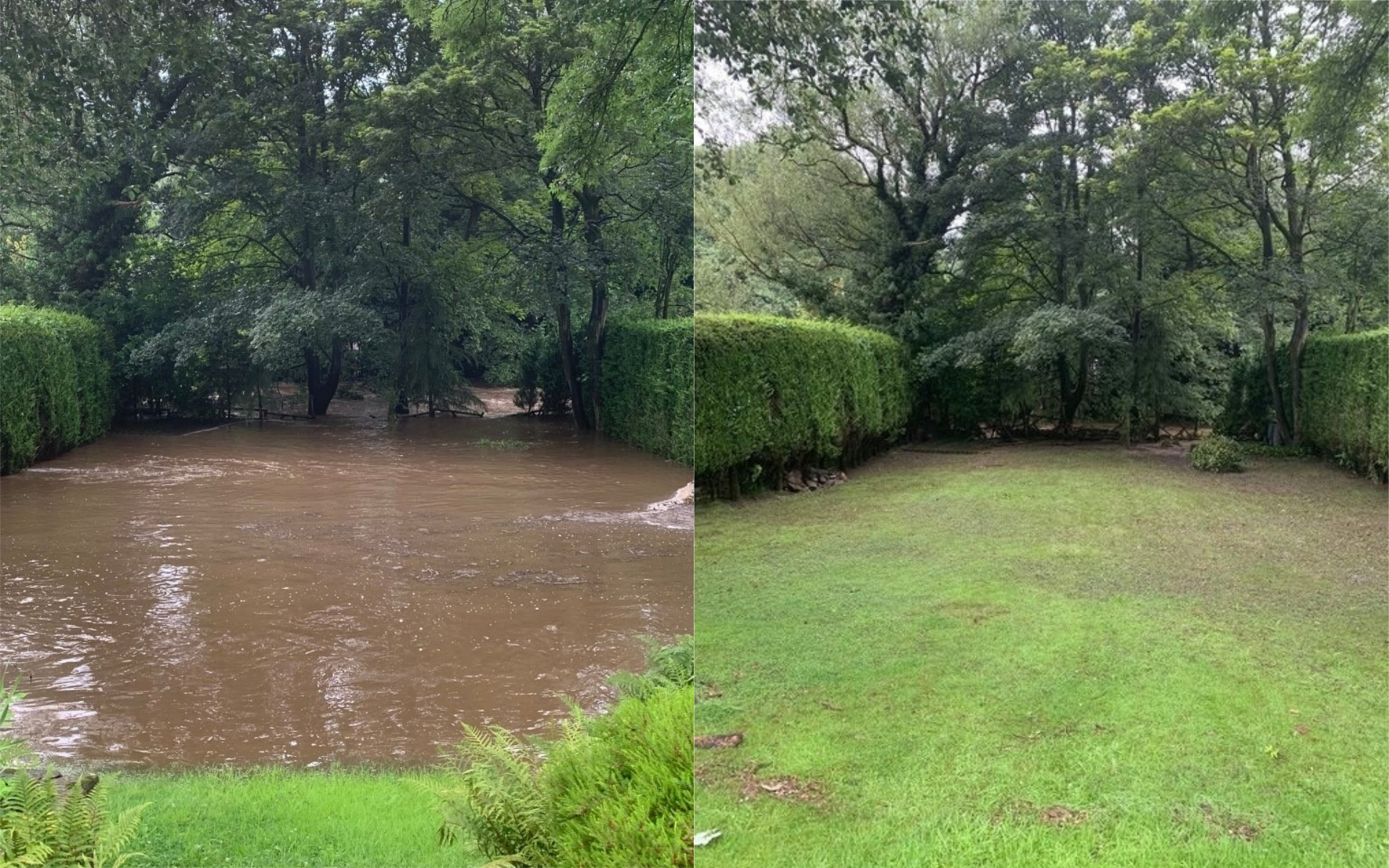 Ms Sillitoe's garden during and after Wednesday's flooding