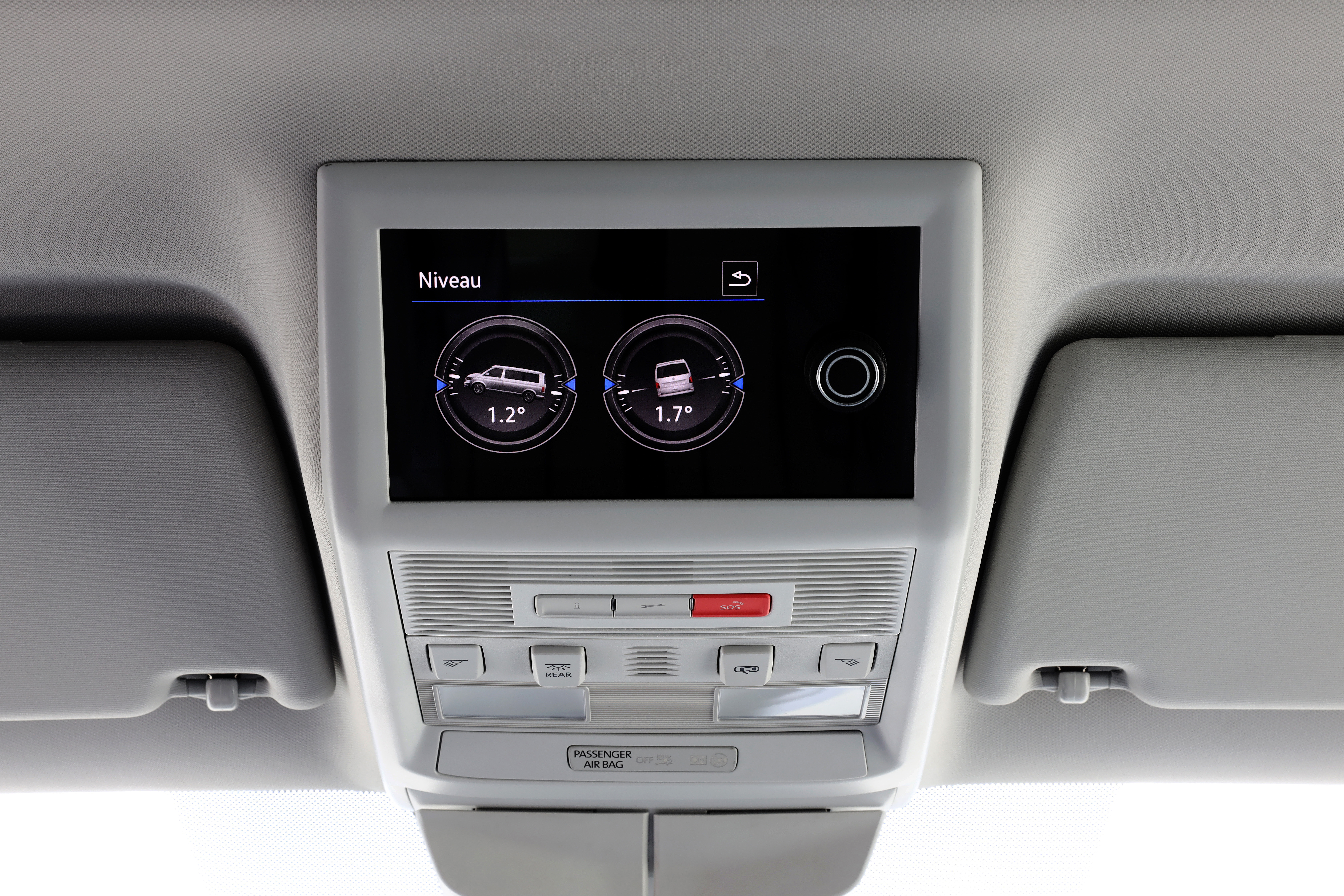A new overhead screen controls many of the van's functions