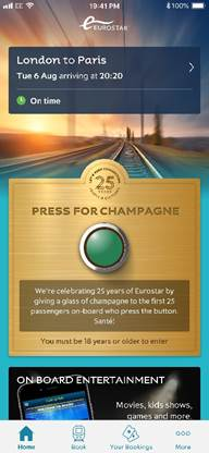 The button will be available on selected services (Eurostar/PA)