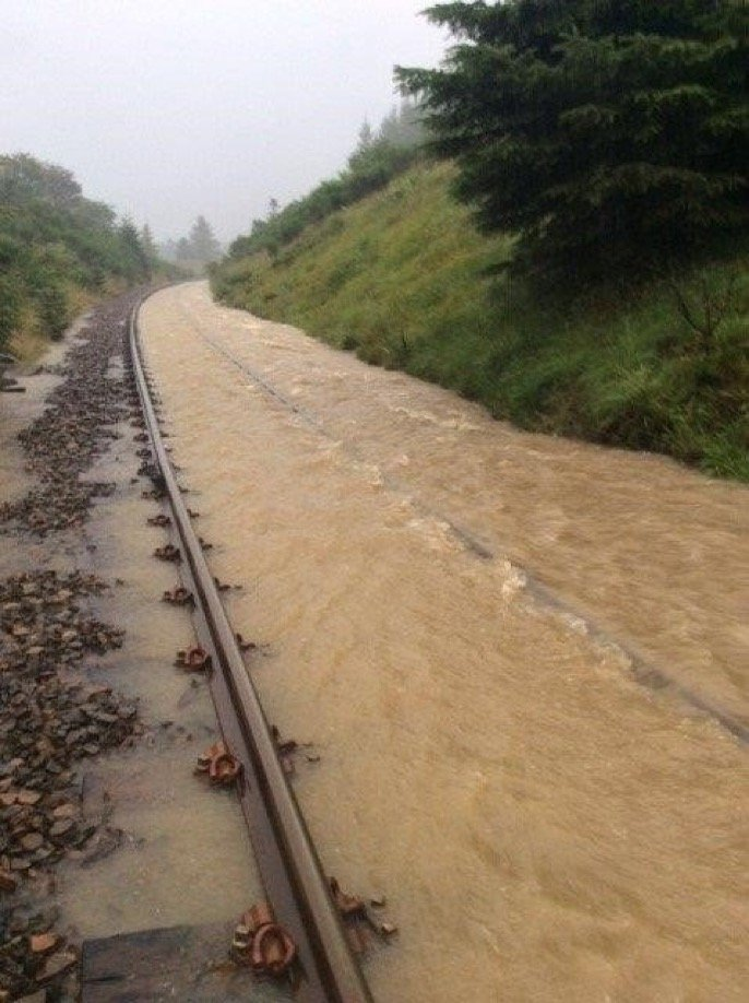 Flooded train track