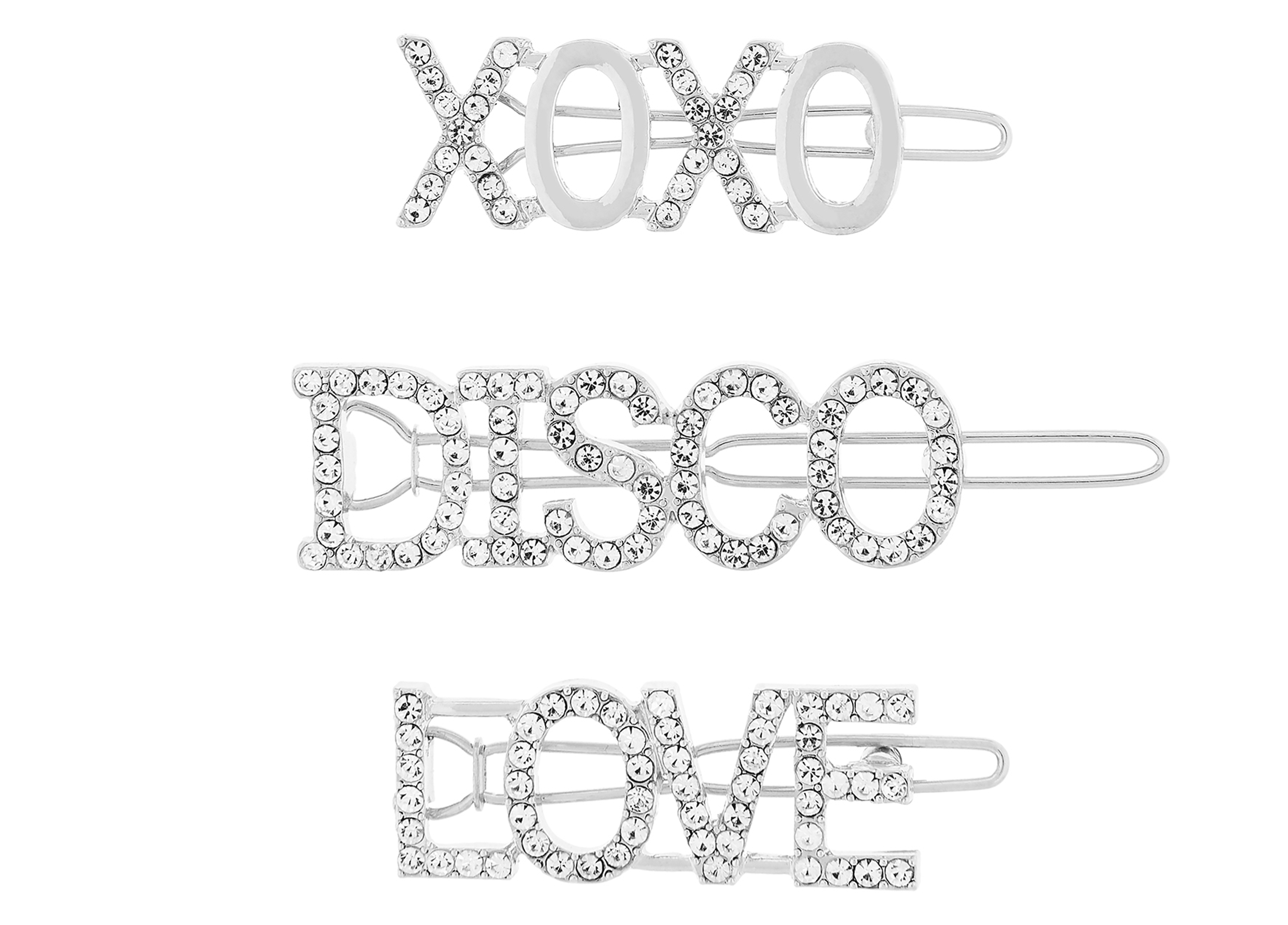 Accessorize Disco Slogan Diamante Hair Slides
