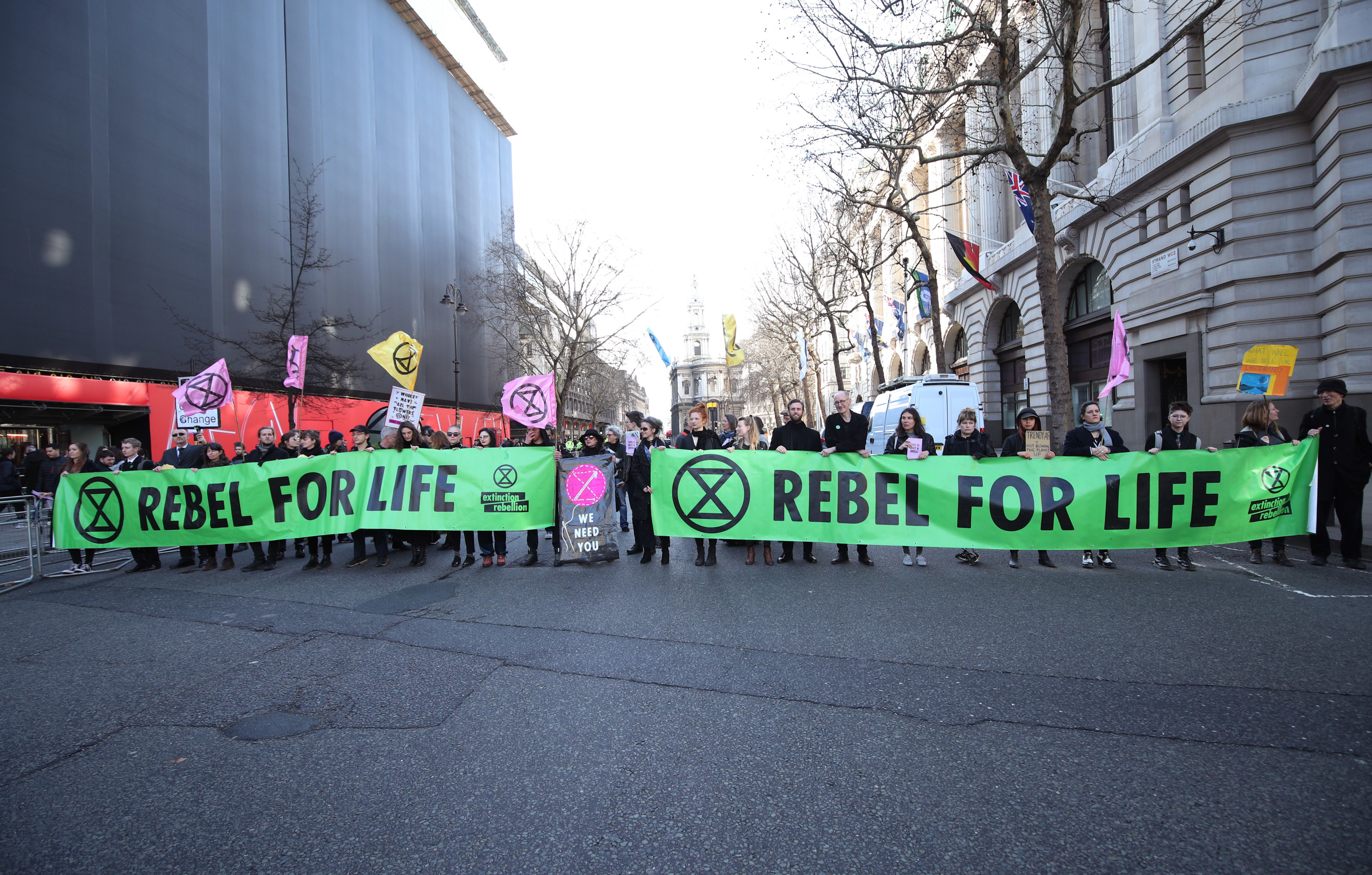 Extinction Rebellion protests outside LFW in February