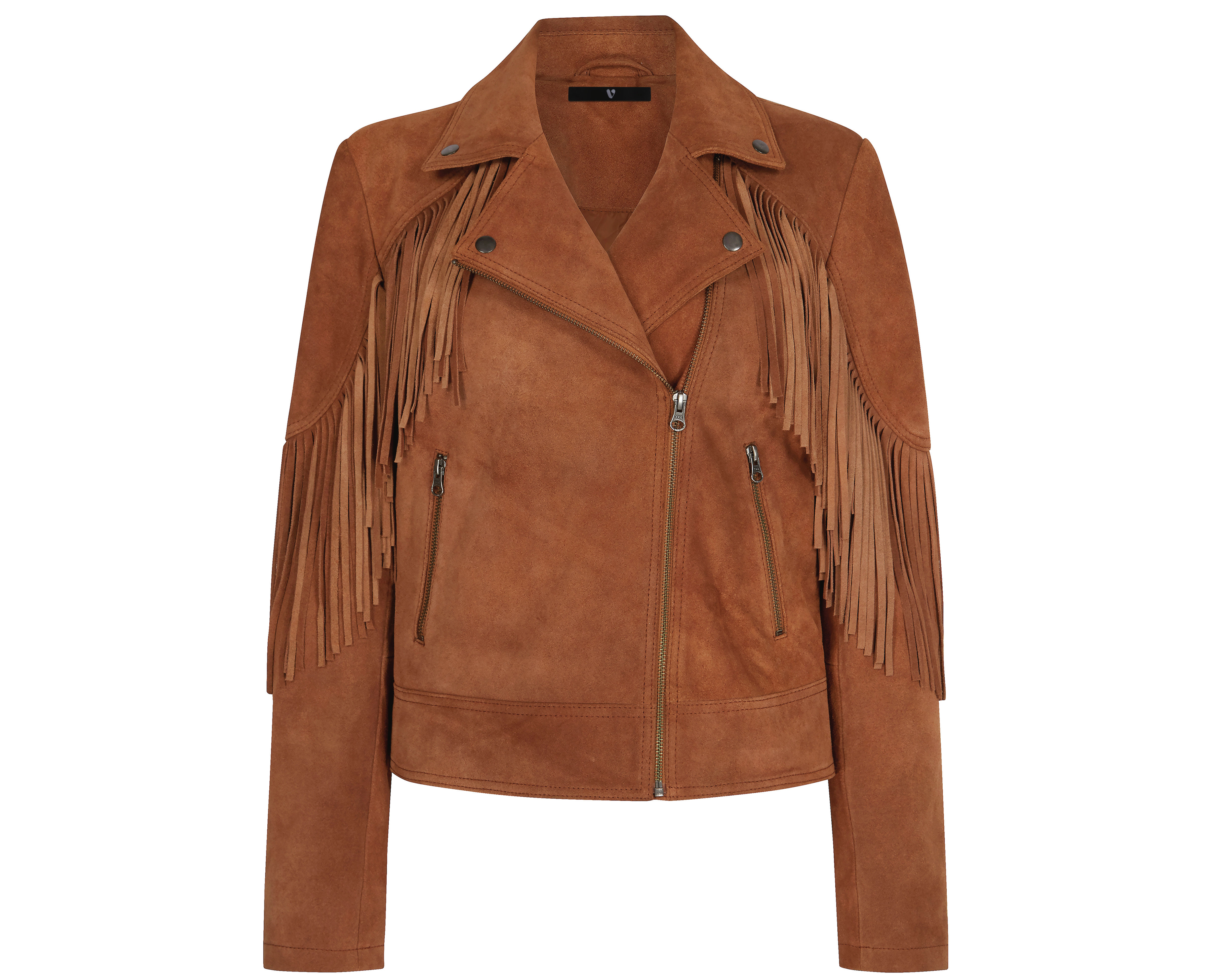 Very Tan Fringe Suede Biker Jacket
