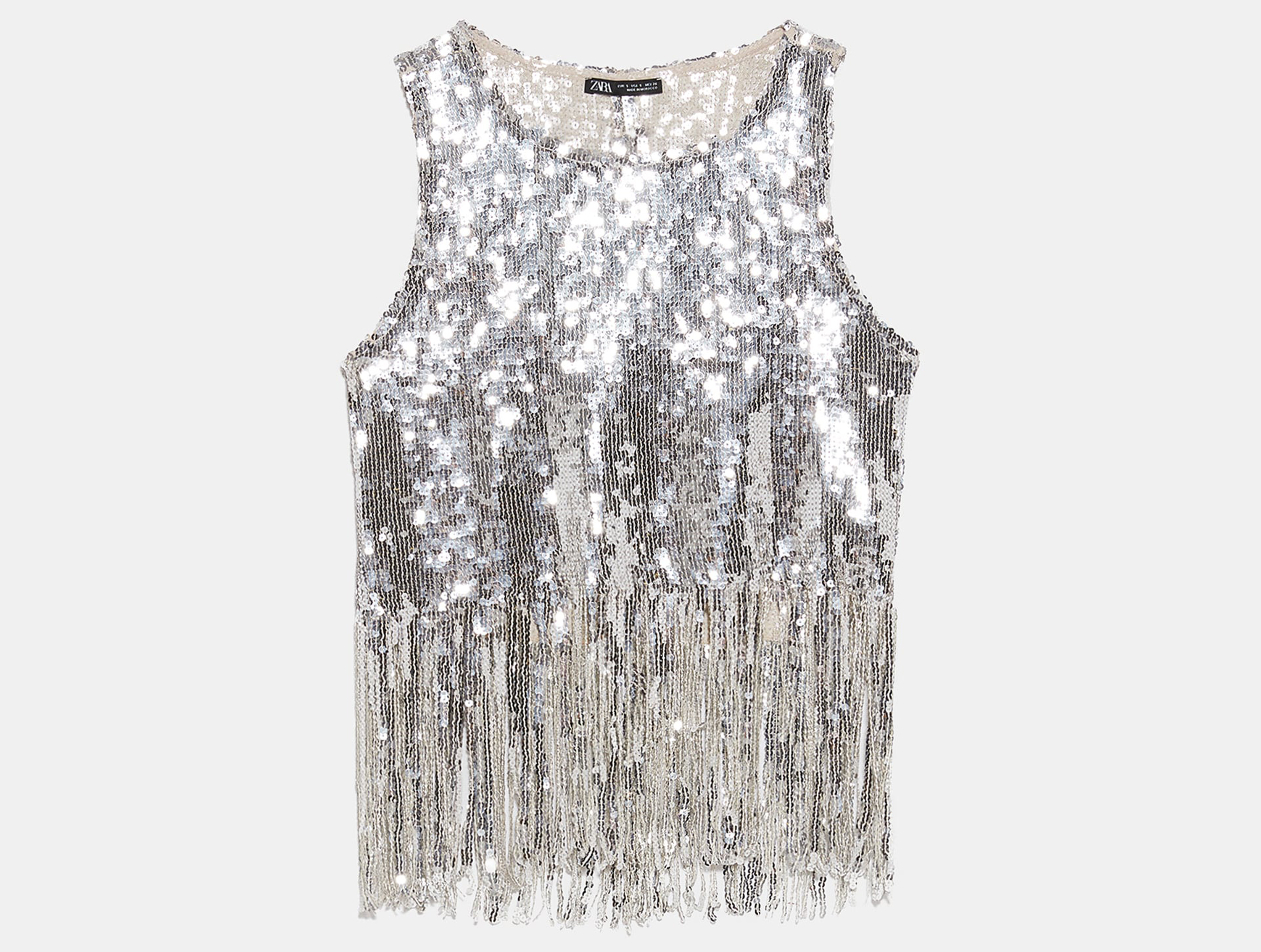 Zara Sequinned Top with Fringing