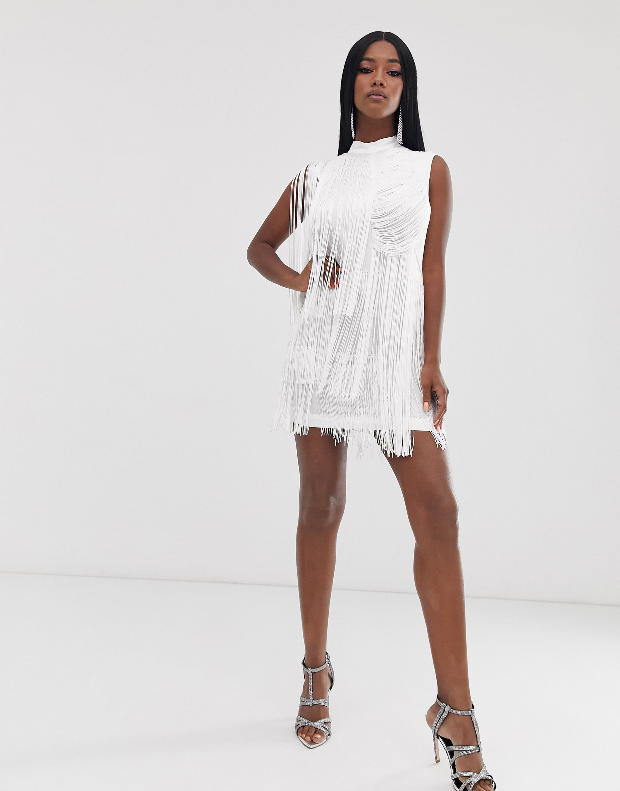 ASOS Design Mini Drape Fringe Shift Dress; High Maintenance Strappy Pointed Heeled Sandals in Silver