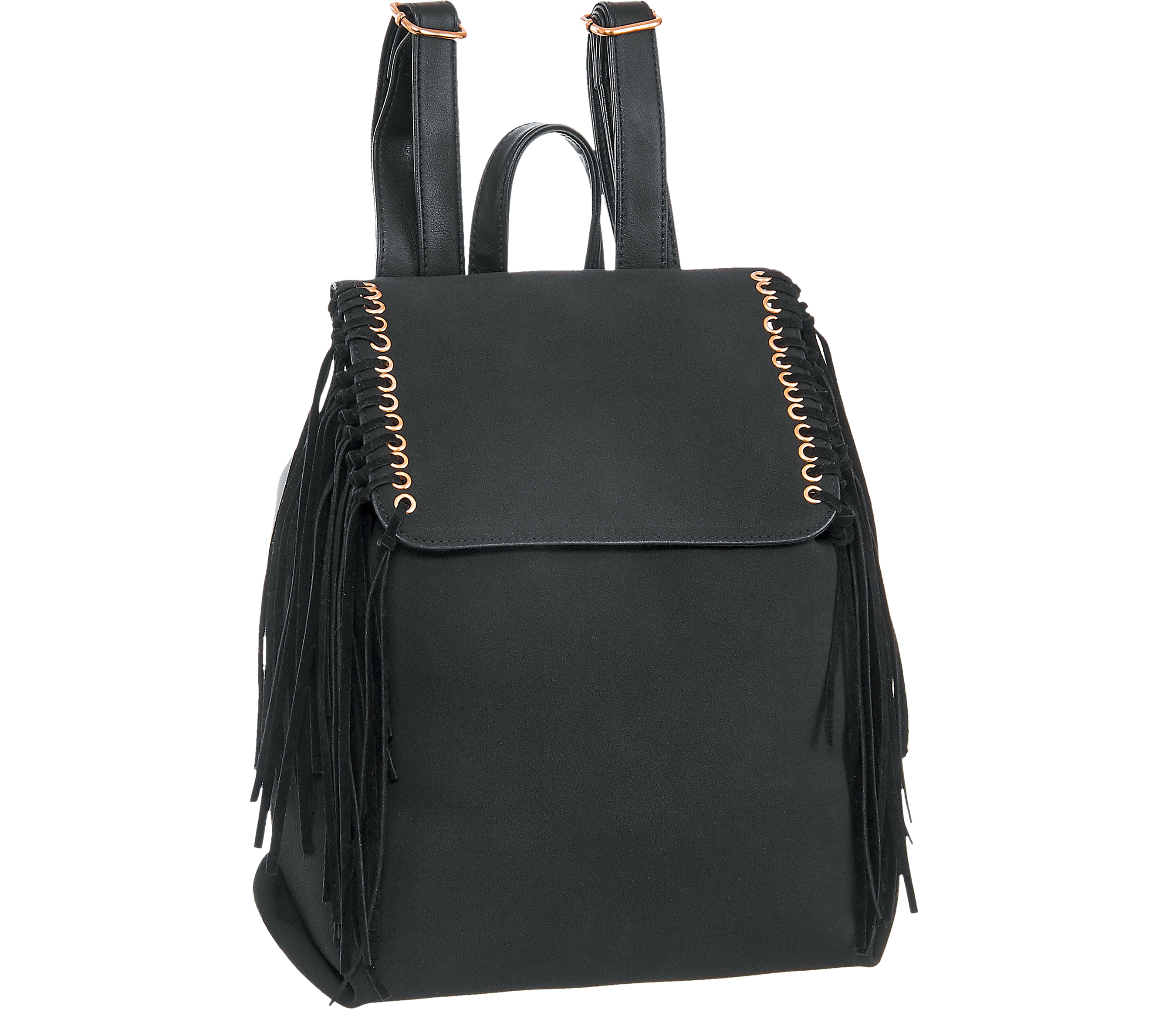 Deichmann Graceland Black Fringed Backpack