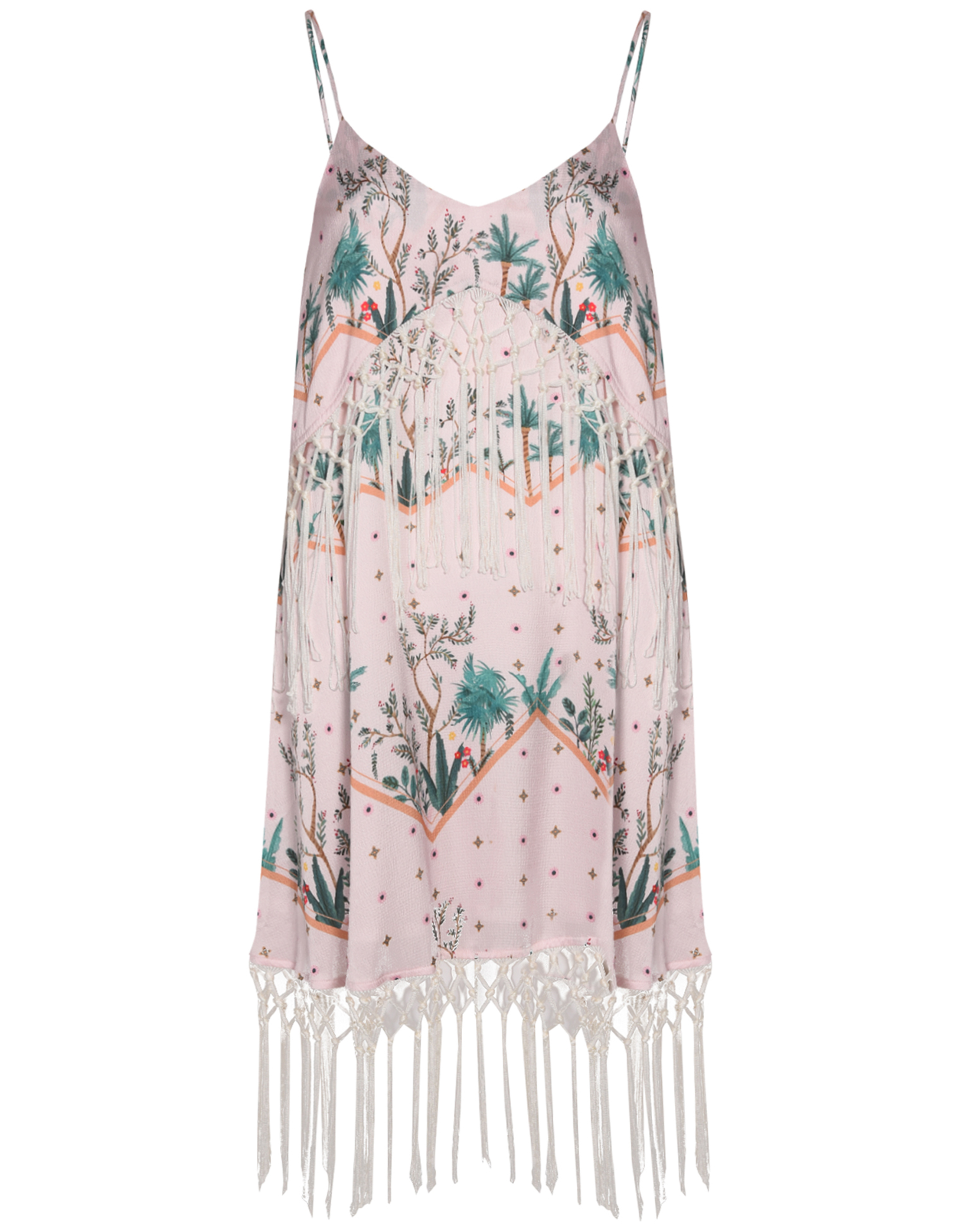 Glamorous Pink Green Palm Print Fringed Mini Dress