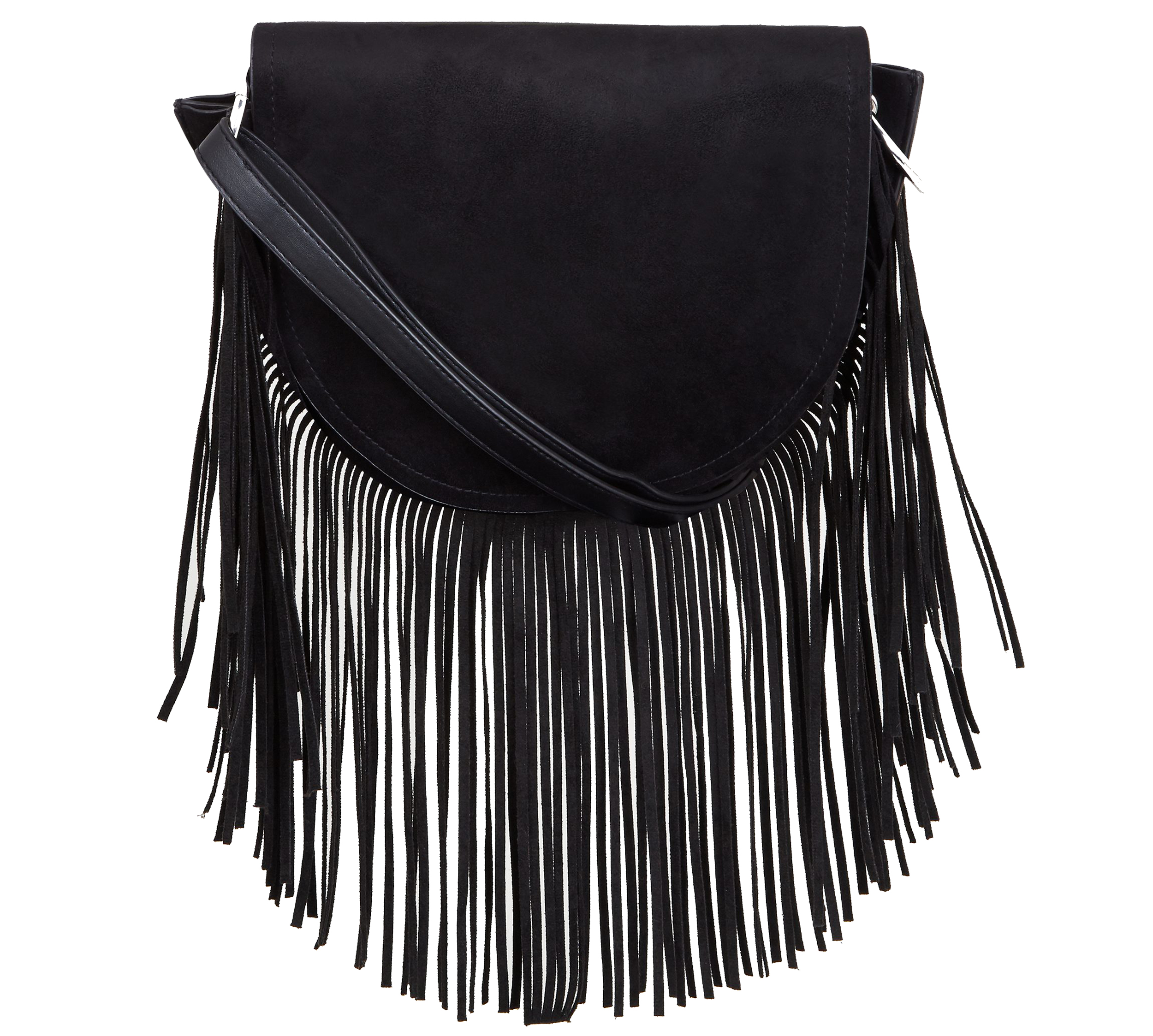 New Look Black Suedette Fringe Cross Body Bag