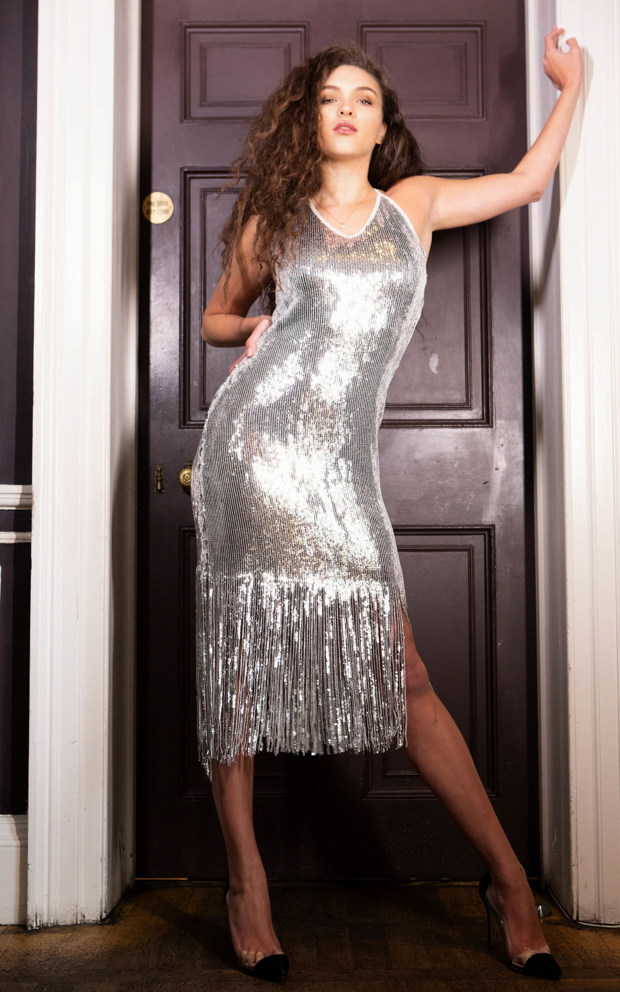 21st Mill Sasskia Silver Sequin Fringed Hem Bodycon Dress