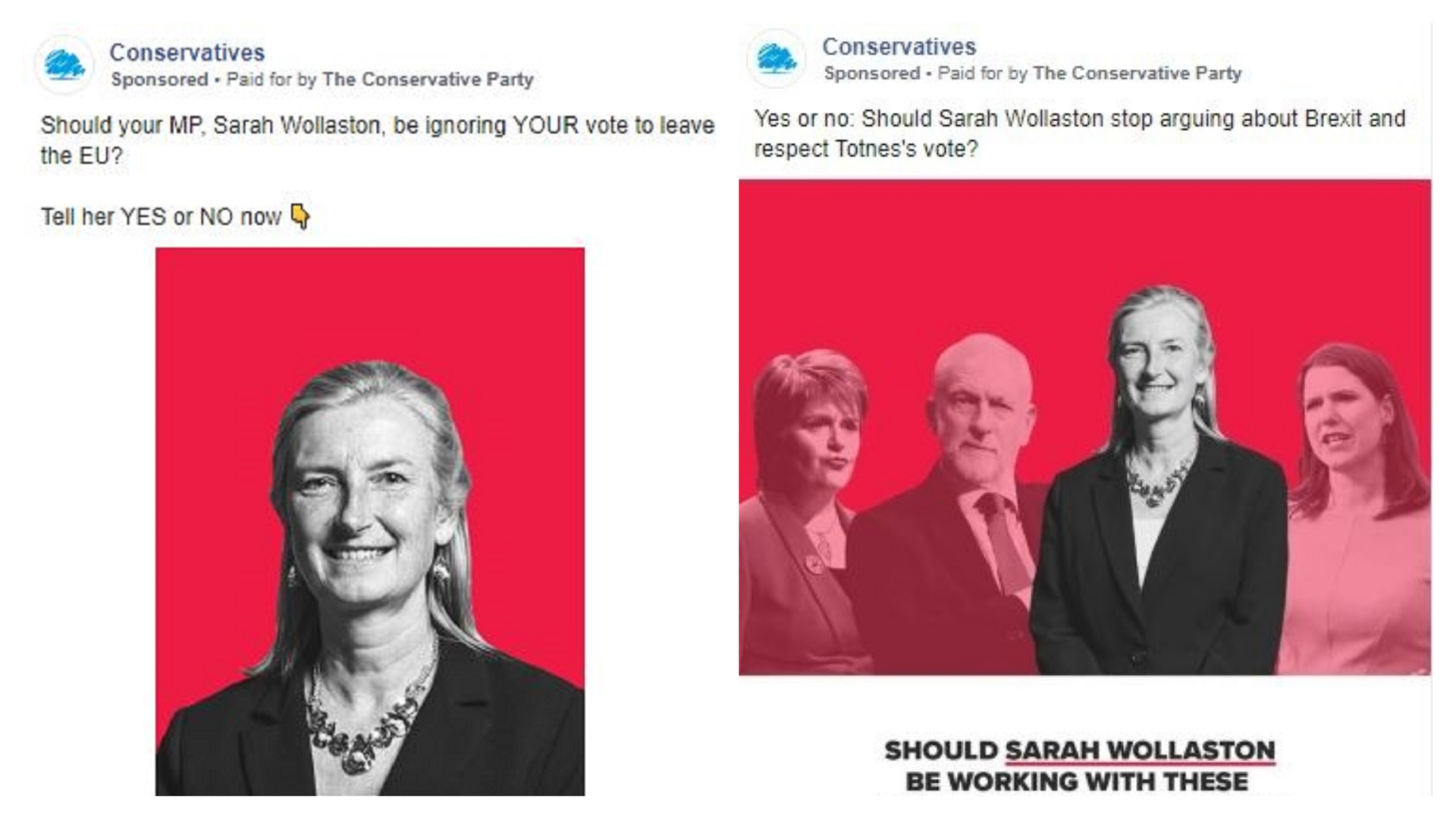 Adverts targeting Sarah Wollaston's constituents (Conservatives/Facebook)
