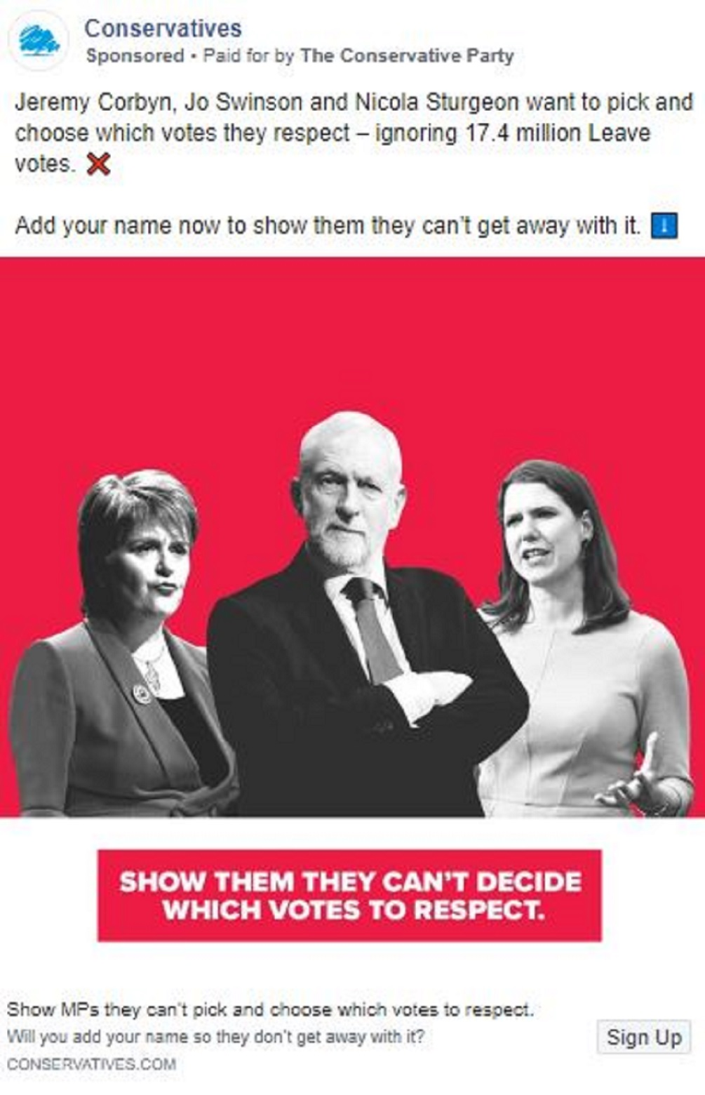 An advert targeting Nicola Sturgeon, Jeremy Corbyn and Jo Swinson (Conservatives/Facebook)