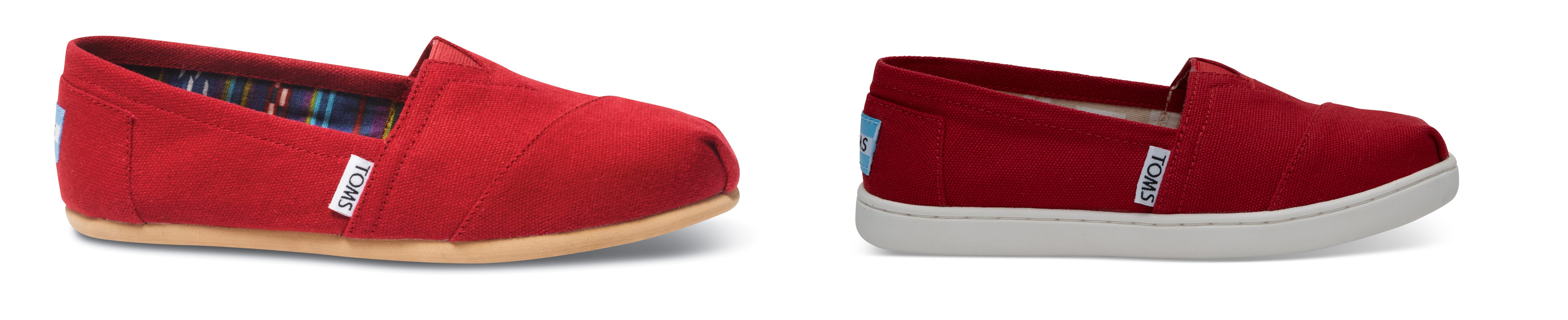 TOMS Red Canvas Women's Classics; Red Canvas Youth Classics 2.0