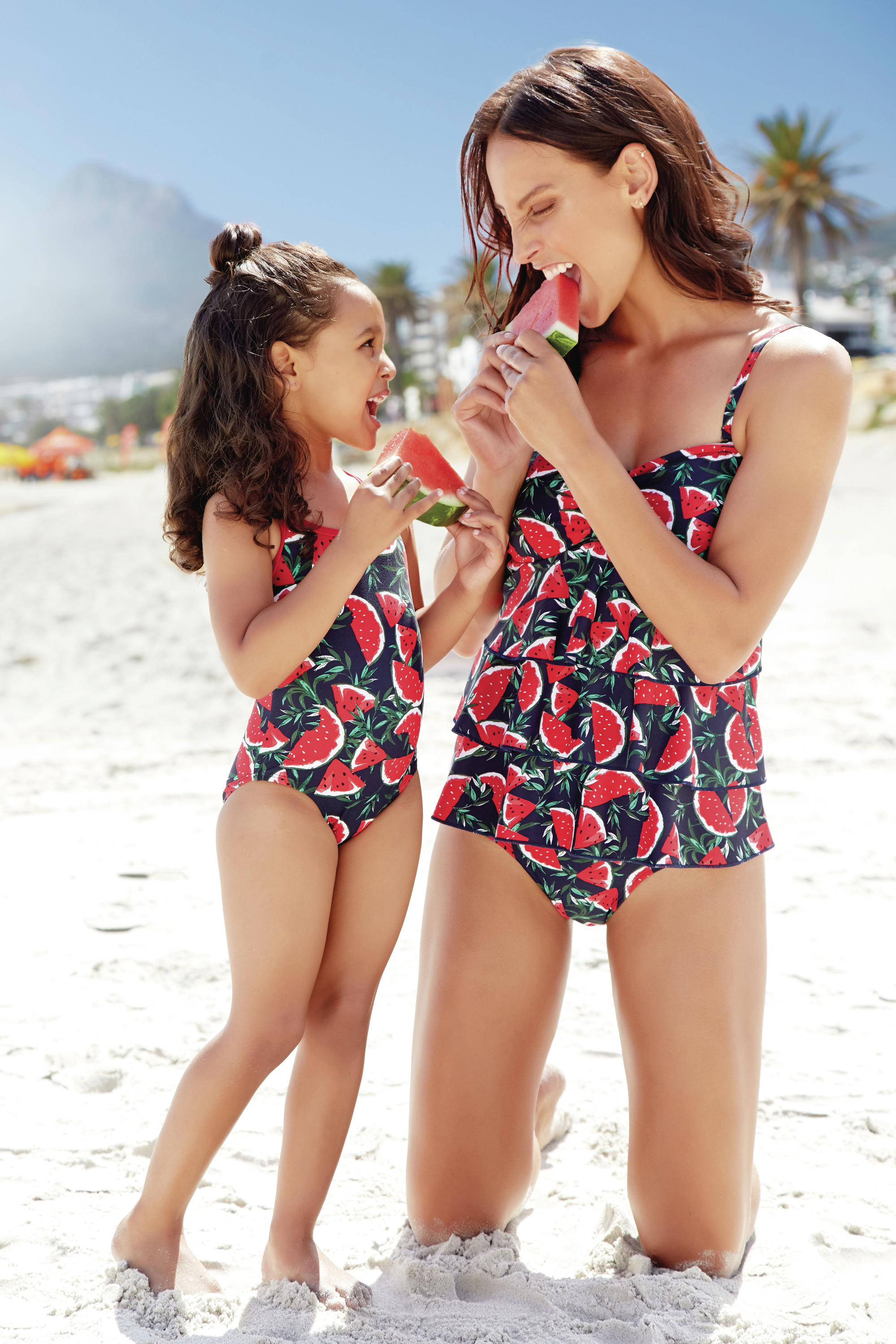 M&Co Girl's Watermelon Swimsuit; Watermelon Frill Front Multiway Tankini Top; Watermelon High Waist Control Bikini Bottoms
