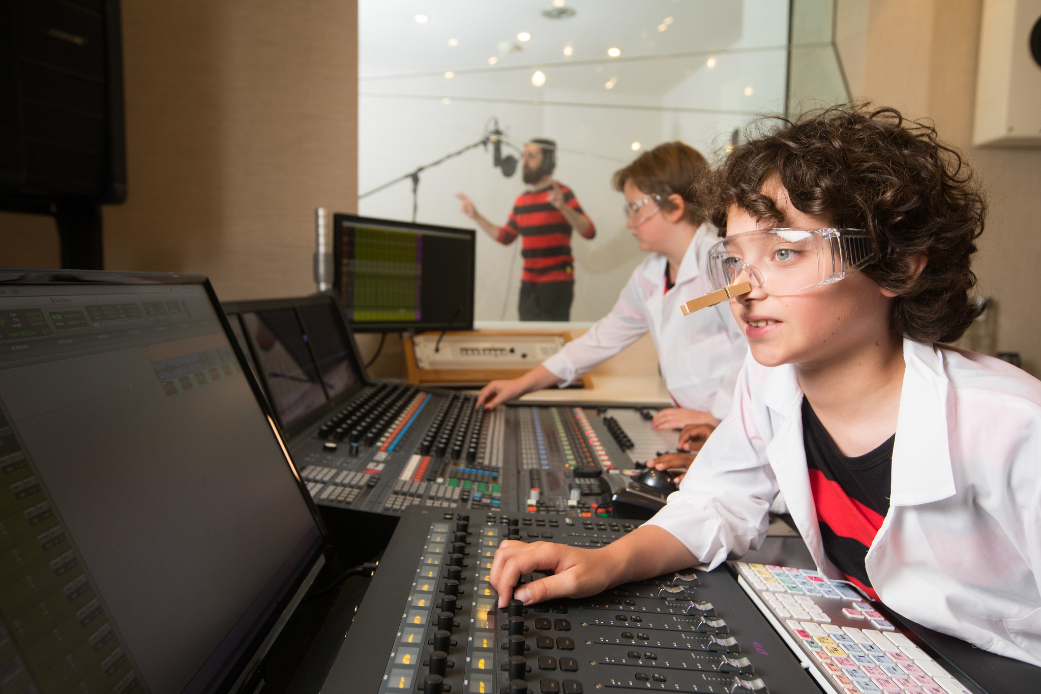 Young people in recording studio