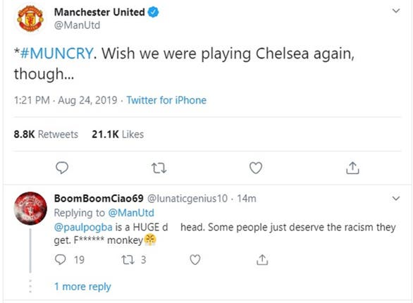 A screen grab of an offensive tweet aimed at Manchester United's Marcus Rashford